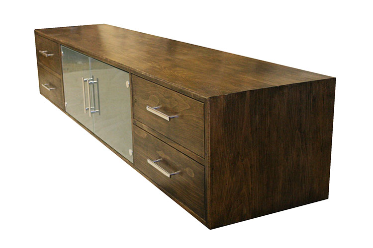 Stained Beech and Glass TV Cabinet