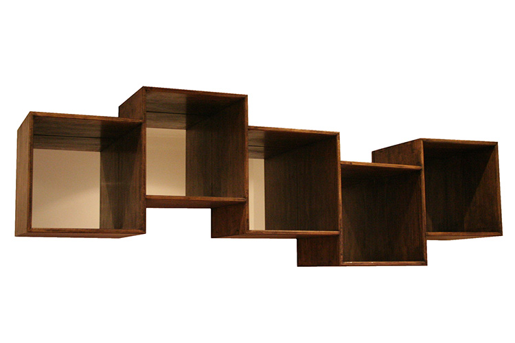 Box shelving with mirror back