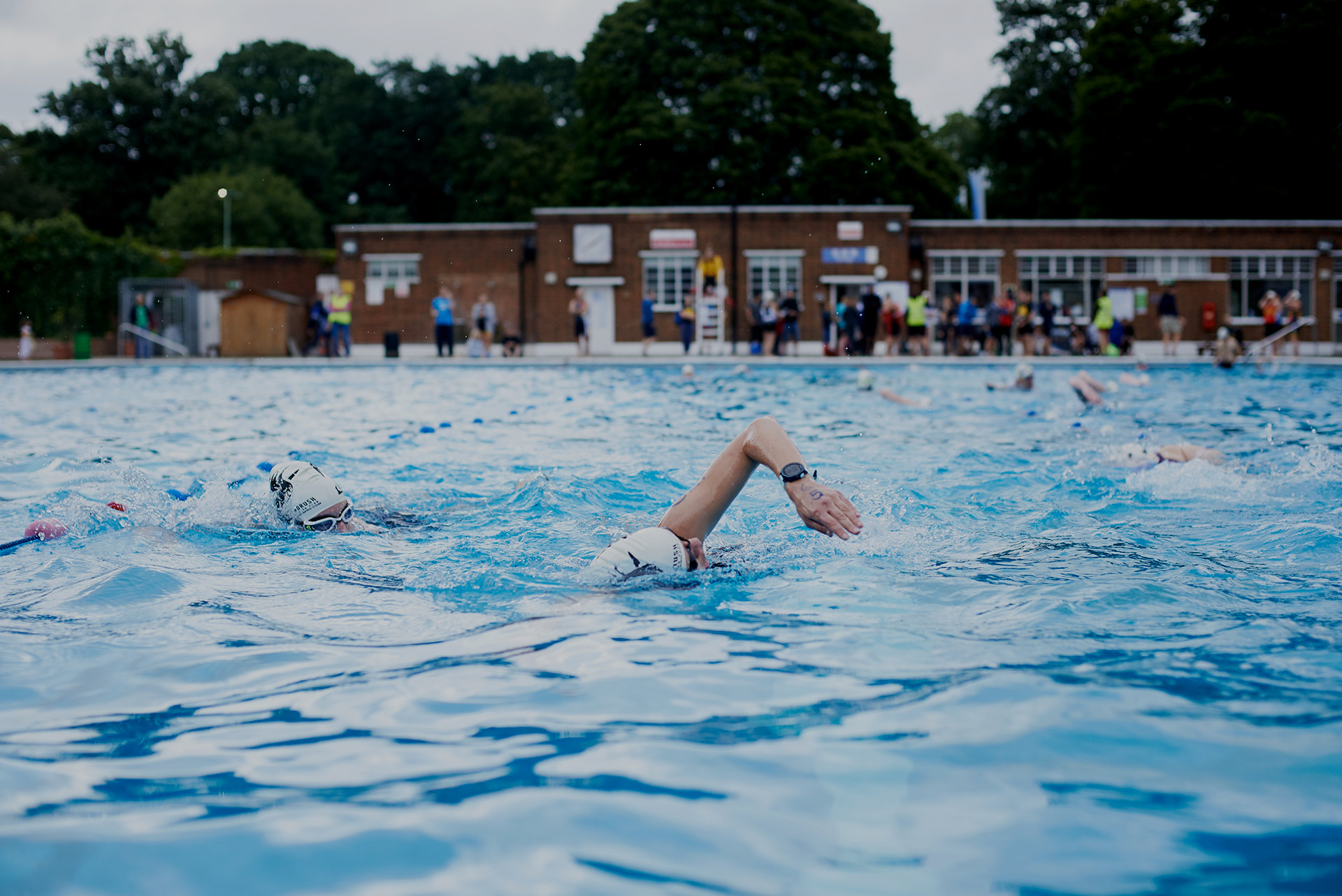Person swimming at Brockwell Lido