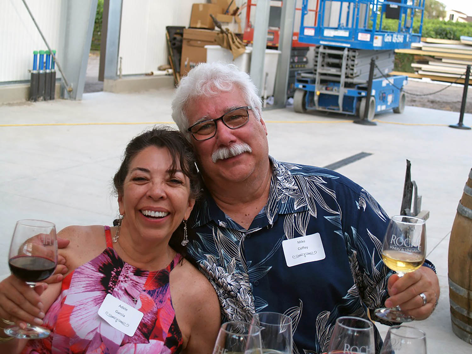 Roche Customers Adele Garcia and Mike Coffey enjoying another WInemaker Dinner