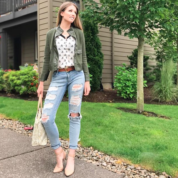 This more casual look is sleeker with this jacket and nude pumps. The contrast of the military style jacket that hits at my hip against the silk blouse creates great interest.