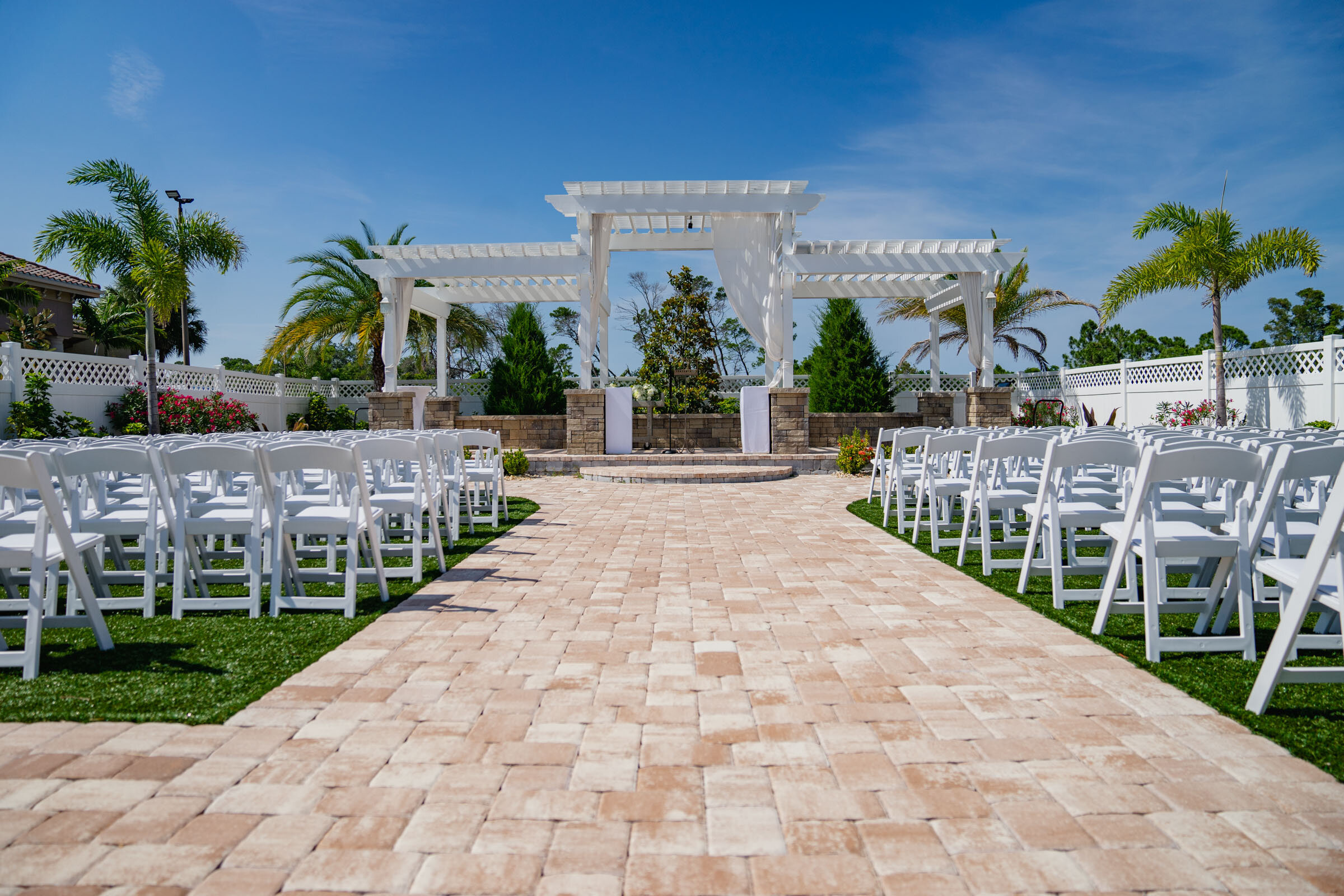 The Ceremony space at Grand Manor is private and super easy to access from the main venue.