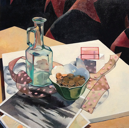 """Bowl of Pennies in a Still Life   15"""" x 15""""  Oil on Linen"""