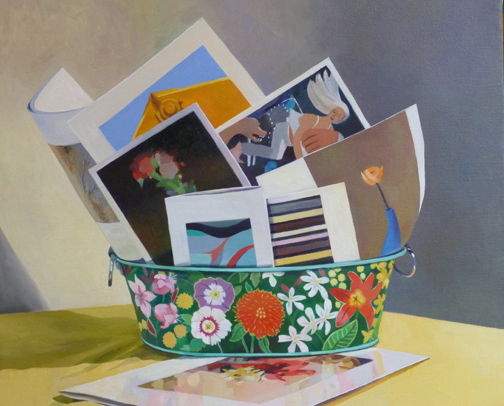 "Postcard Bouquet   Oil on Linen  21"" x 24"""