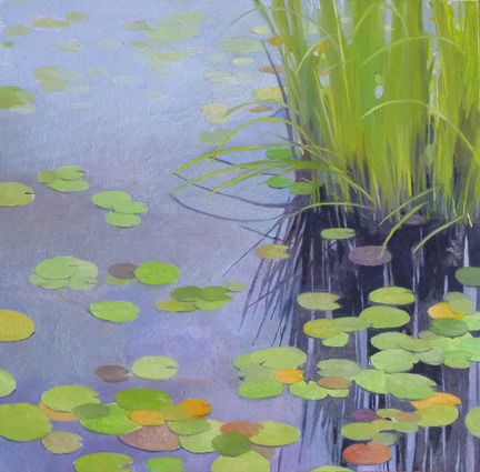 """Lily Pond #2    Oil on Wood  8"""" x 8"""""""