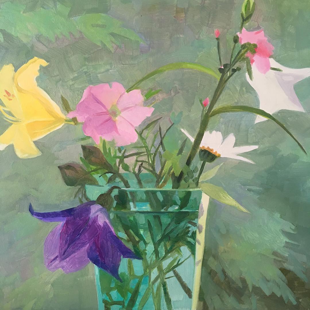 "Maine Wildflowers   Oil on Wood  8"" x 8"""