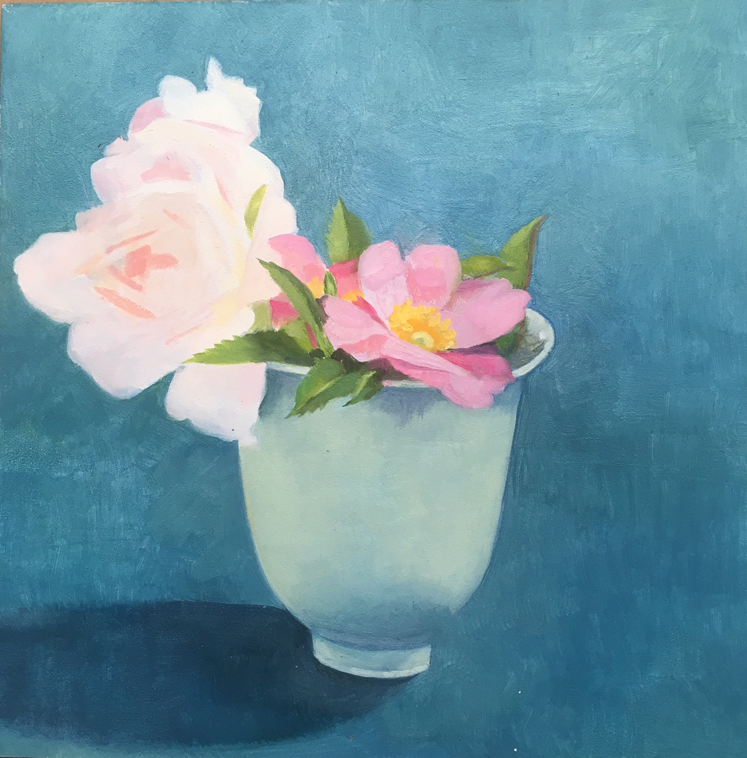 """Wild Roses in a Teacup   Oil on Wood  8"""" x 8"""""""