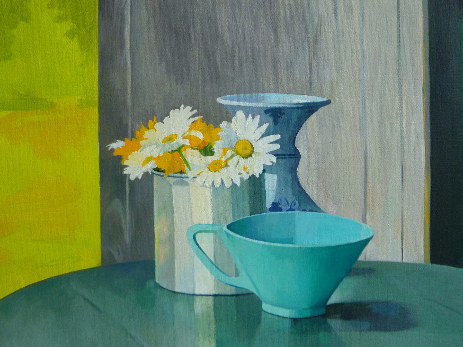 """Daisies in a Tin Cup   11"""" x 14""""  Oil on Linen"""