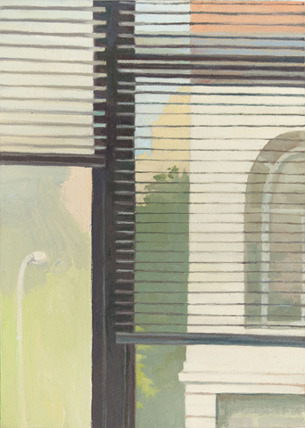 """Beyond the Blinds   Oil on Wood  7"""" x 5"""""""