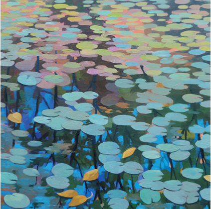"""Lily Pond in the Fall (sold)  Oil on Wood  10"""" x 10"""""""