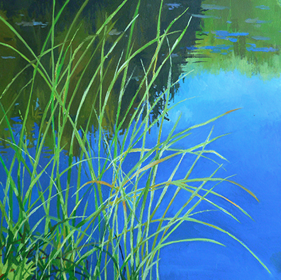 """Tall Grass by the Frog Pond #2   Oil on Wood  6"""" x 6"""""""