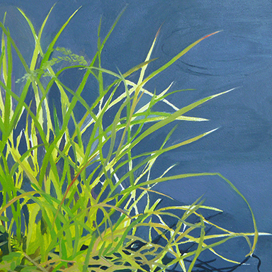 """Tall Grass by the Frog Pond   Oil on Wood  6"""" x 6"""""""