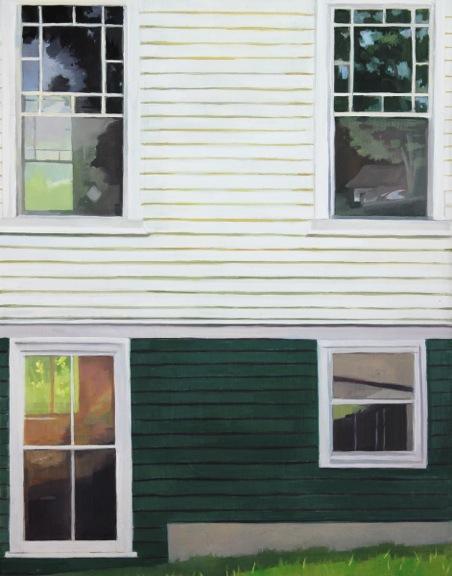 "Parish House, Four Windows   Oil on Wood  14"" x 11"""