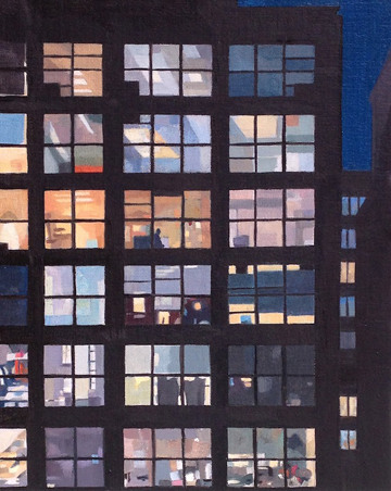 """Night Building #3  (sold)  Oil on Wood  8"""" x 6"""""""