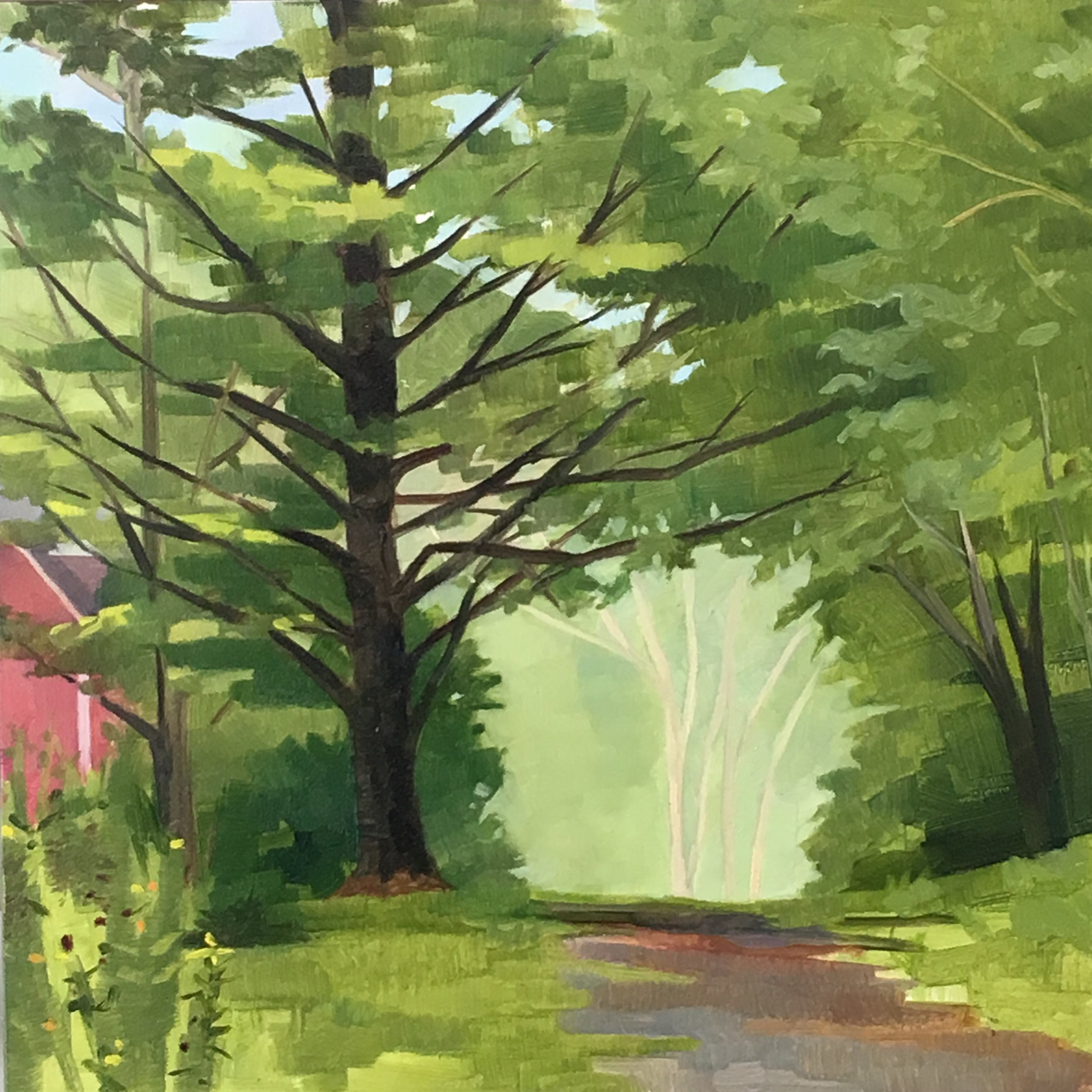 """Vermont Road   Oil on Wood  8"""" x 8"""""""