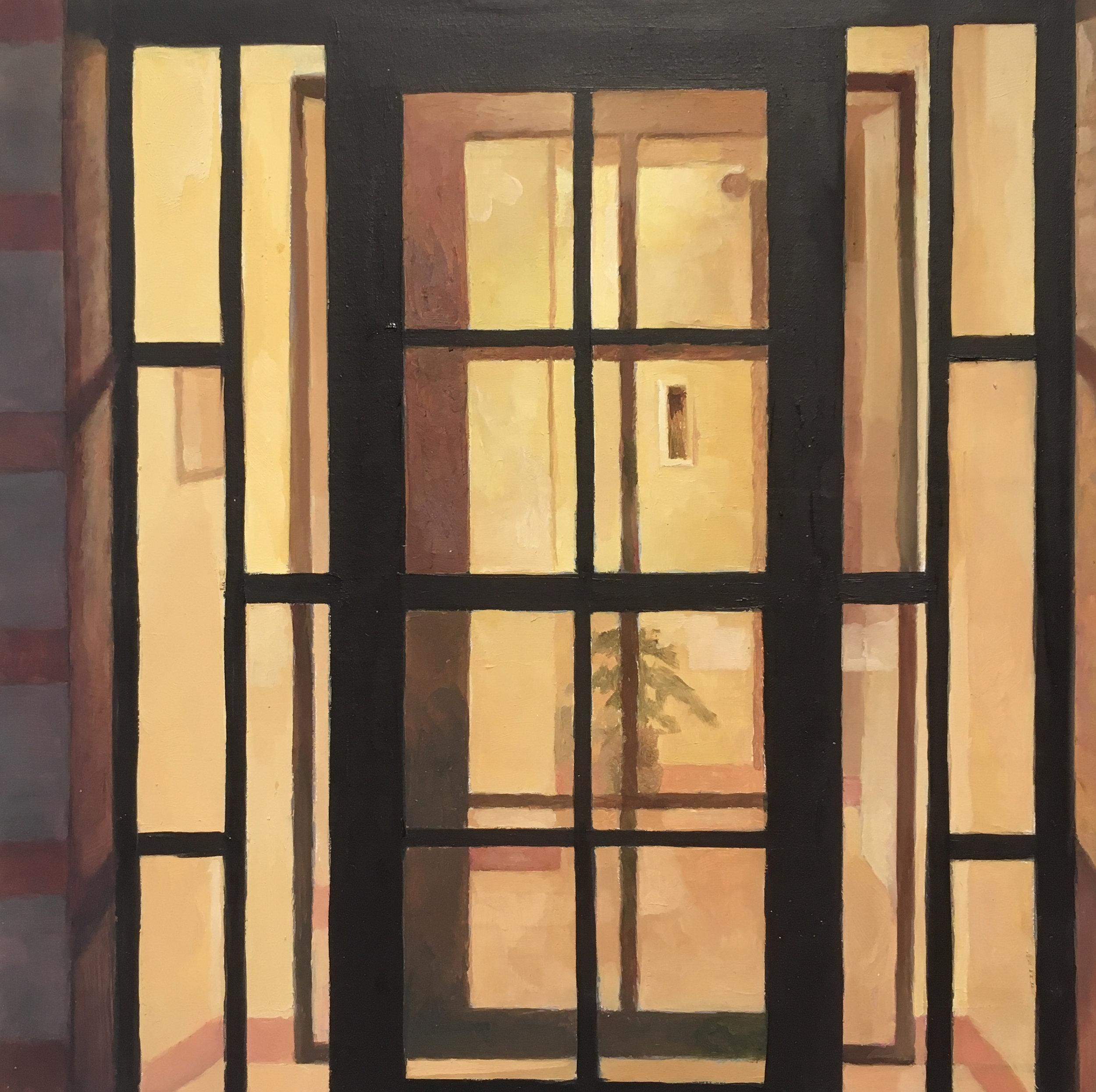 """Winter Door #2   Oil on Wood  8"""" x 8"""""""