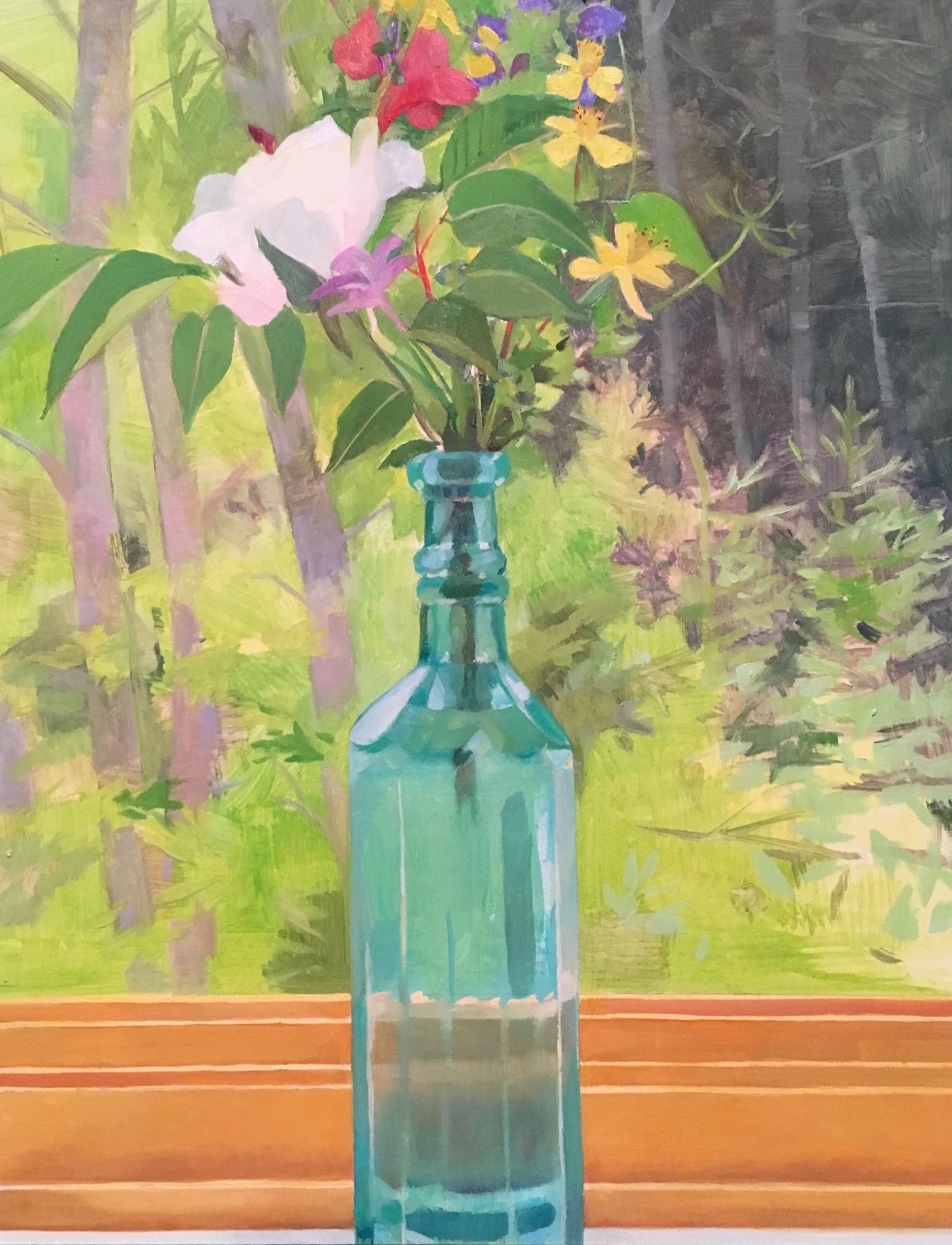 Flowers in a Blue-Green Bottle