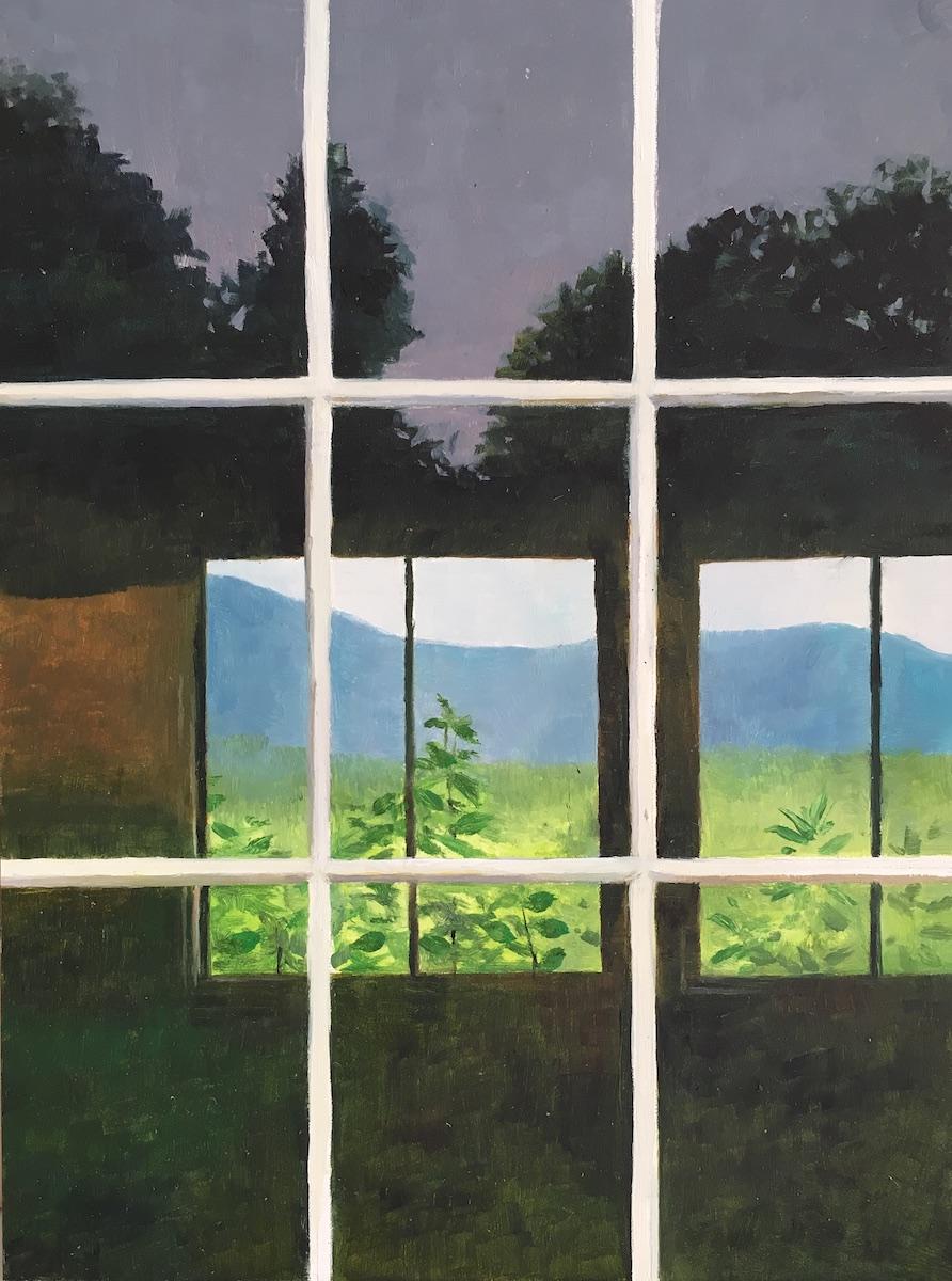 Mountain View Through a Window
