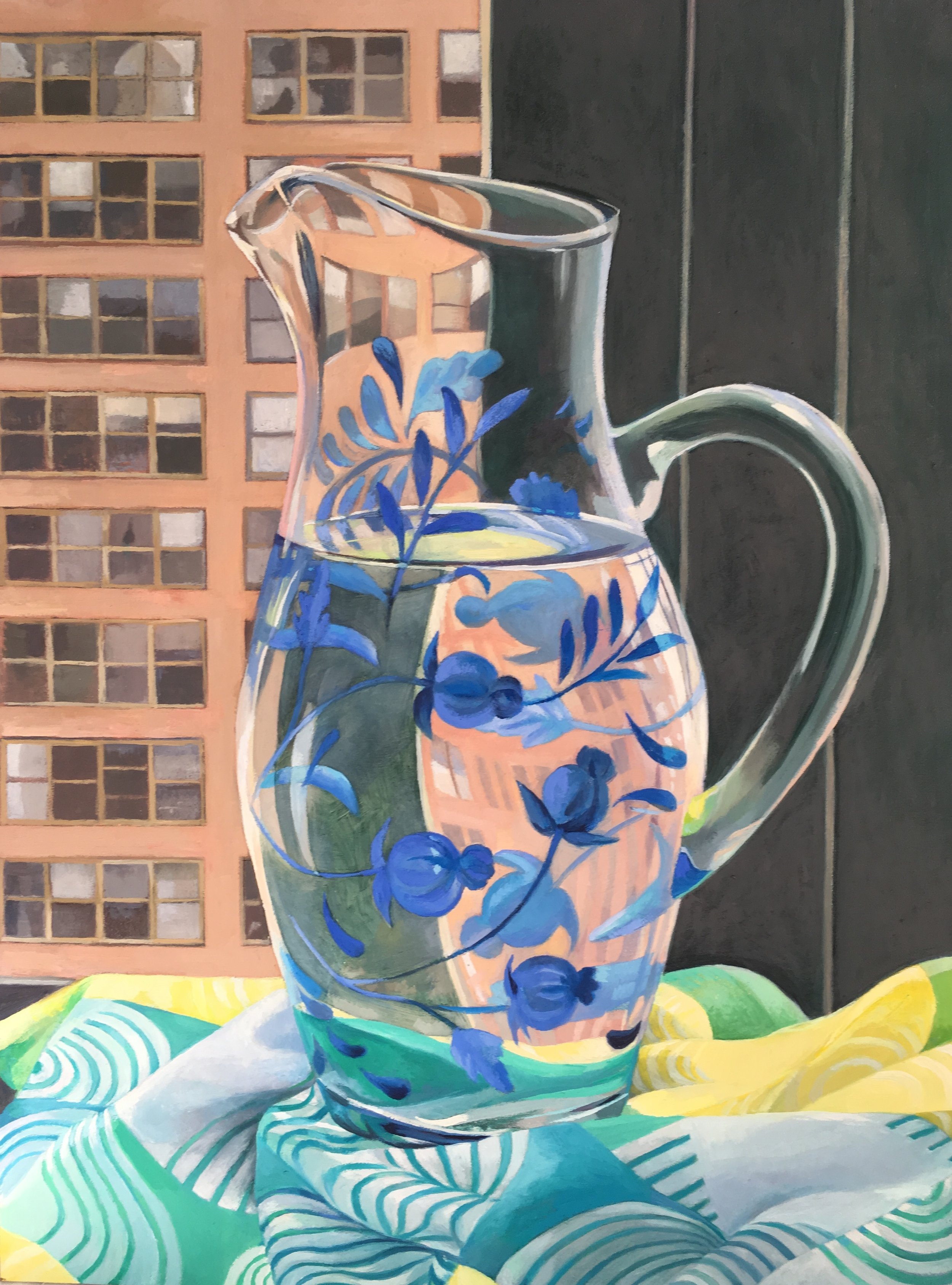 Flowered Vase in a City Window