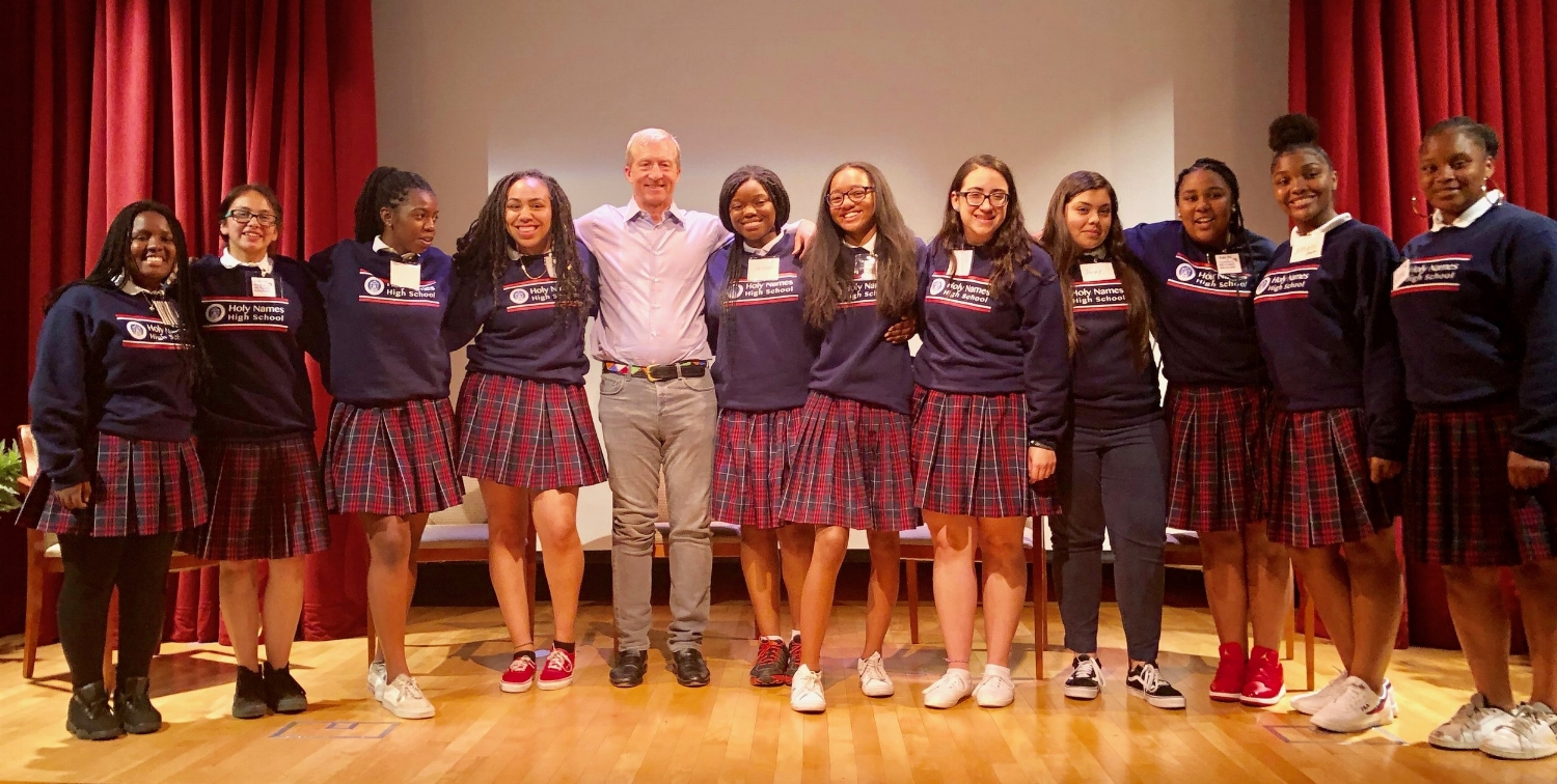 PBM 2018 participants representing Holy Names High School and PBM supporter, Tom Steyer, at our Grace event in April.