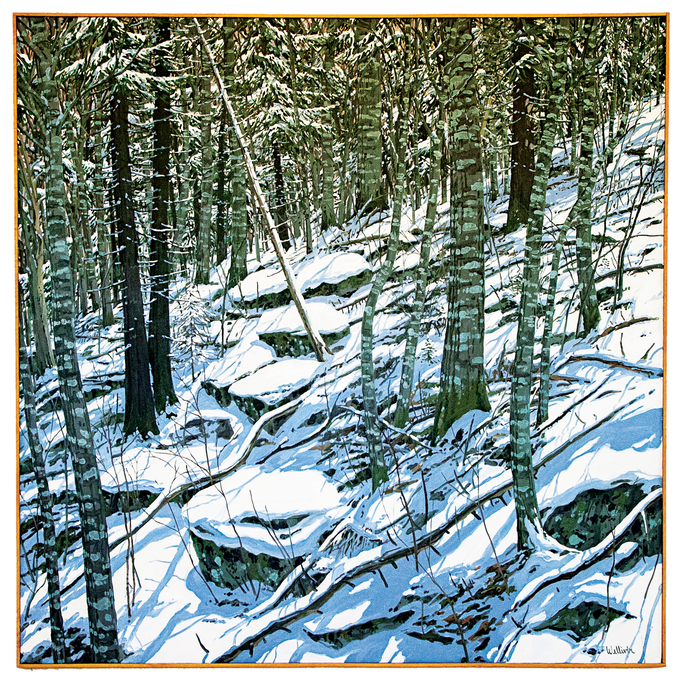 Snow on East Bank   Neil Welliver  (Oil on Canvas)   Painted in 1981, this large (96 x 96) oil painting was donated to the School by E.B. Smith '62. Welliver was best known for his large-scale landscape paintings, inspired by the deep woods near his home in Belfast, Maine. With its placement on the second floor of Ohrstrom Library, the painting faces the School's own natural oasis, which likely would have inspired the artist.