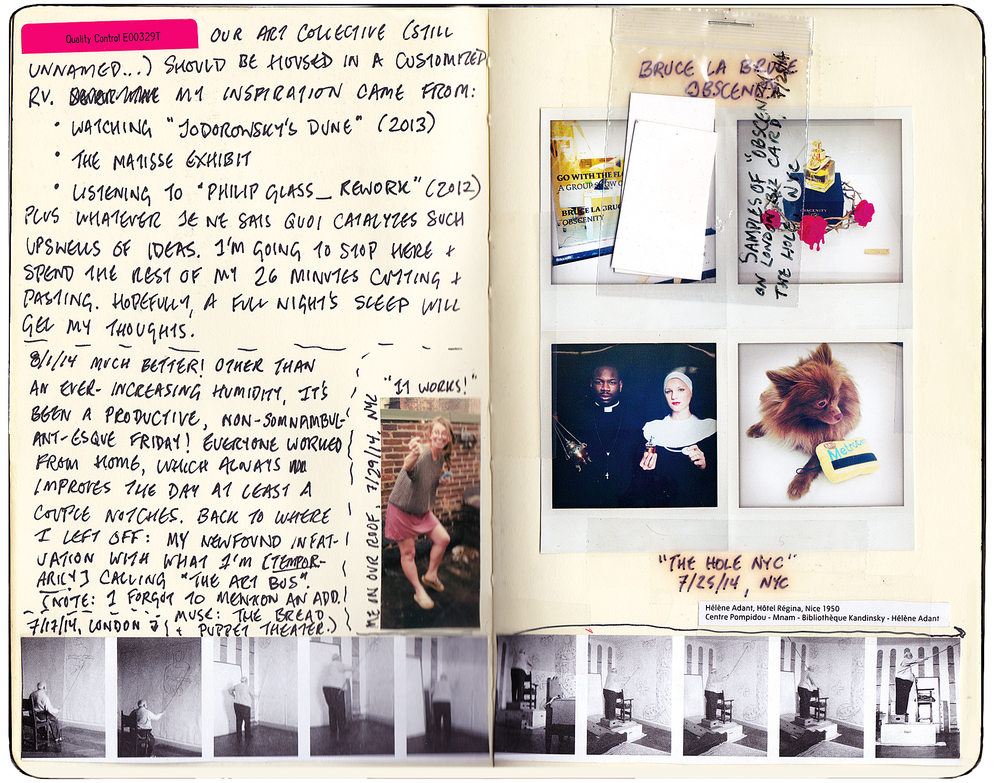 An idea is born: Seminal entries from Davis's journals reveal her thinking process as The Art Bus Project began to take shape in her mind.