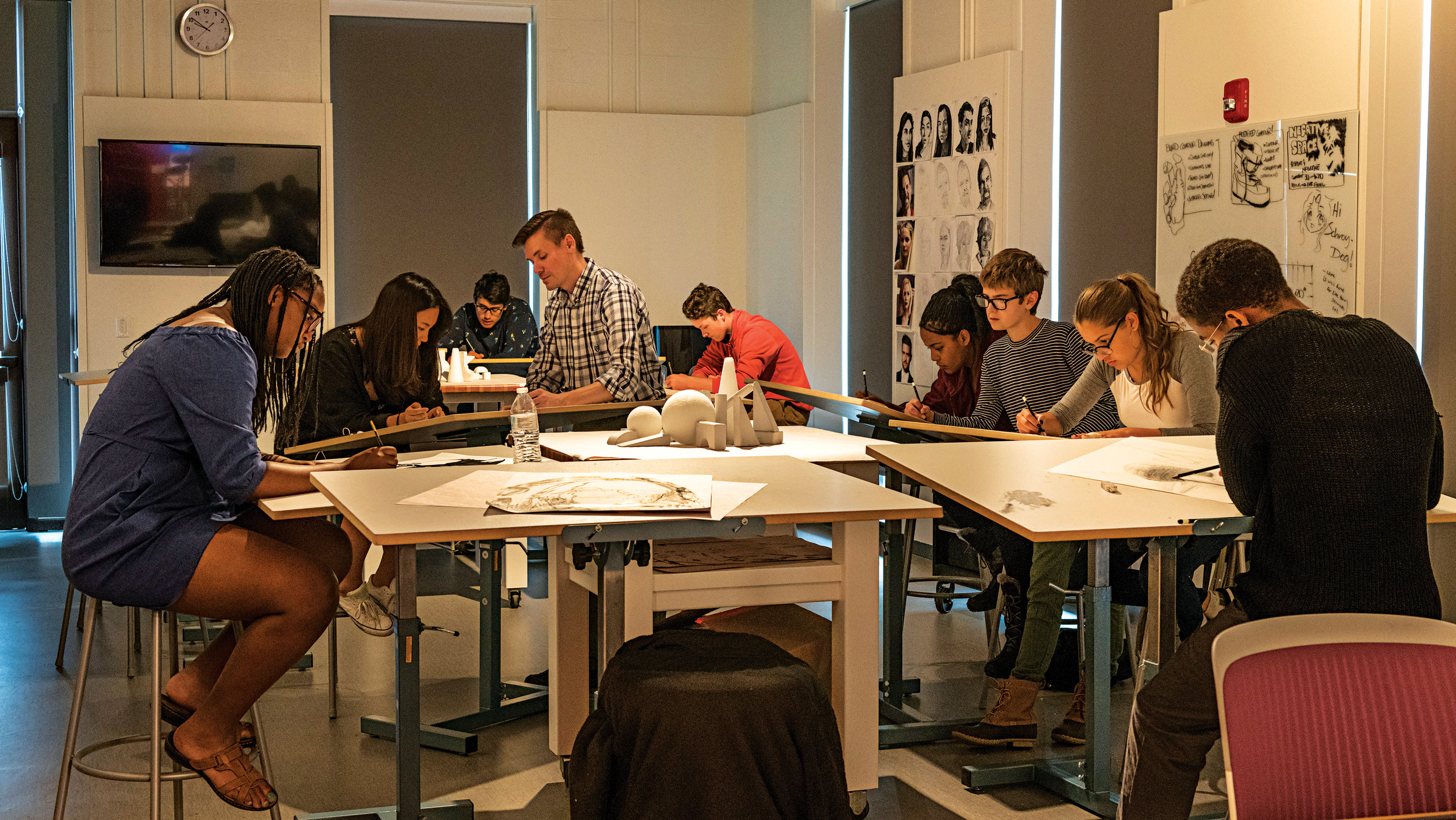 Brian Schroyer's drawing class hard at work.