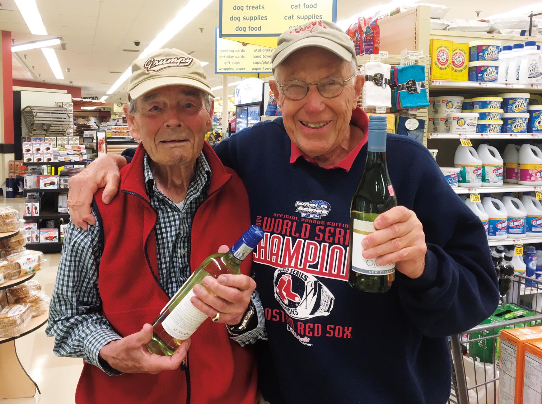 Charlie Van Doren '51 (l.) and John Lorenz '51 bumped into each other in Belfast, Maine.