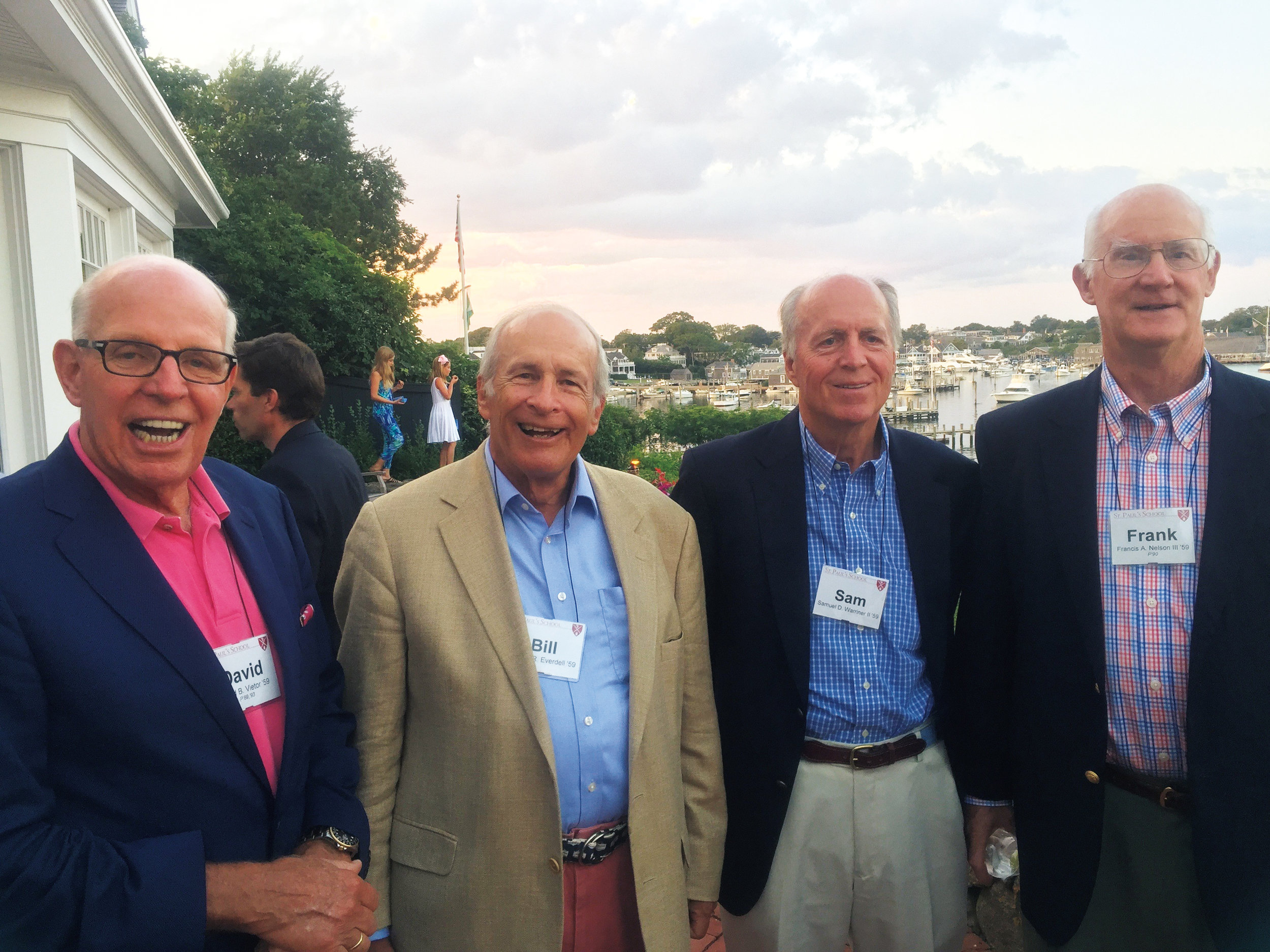 1959 Formmates at a School gathering on Martha's Vineyard in August (l. to r.): David Vietor, Bill Everdell, Sam Warriner, and newlywed Frank Nelson.