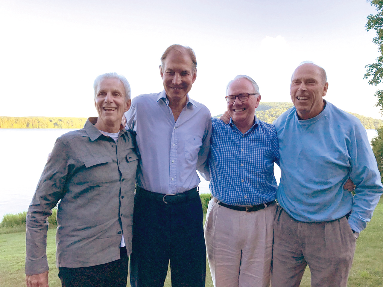 Mini-reunion in the central Adirondacks (l. to r.): Eric von Starck '65, Kiril Sokoloff '65, Nat Prentice '65, and Bucky Putnam '65.