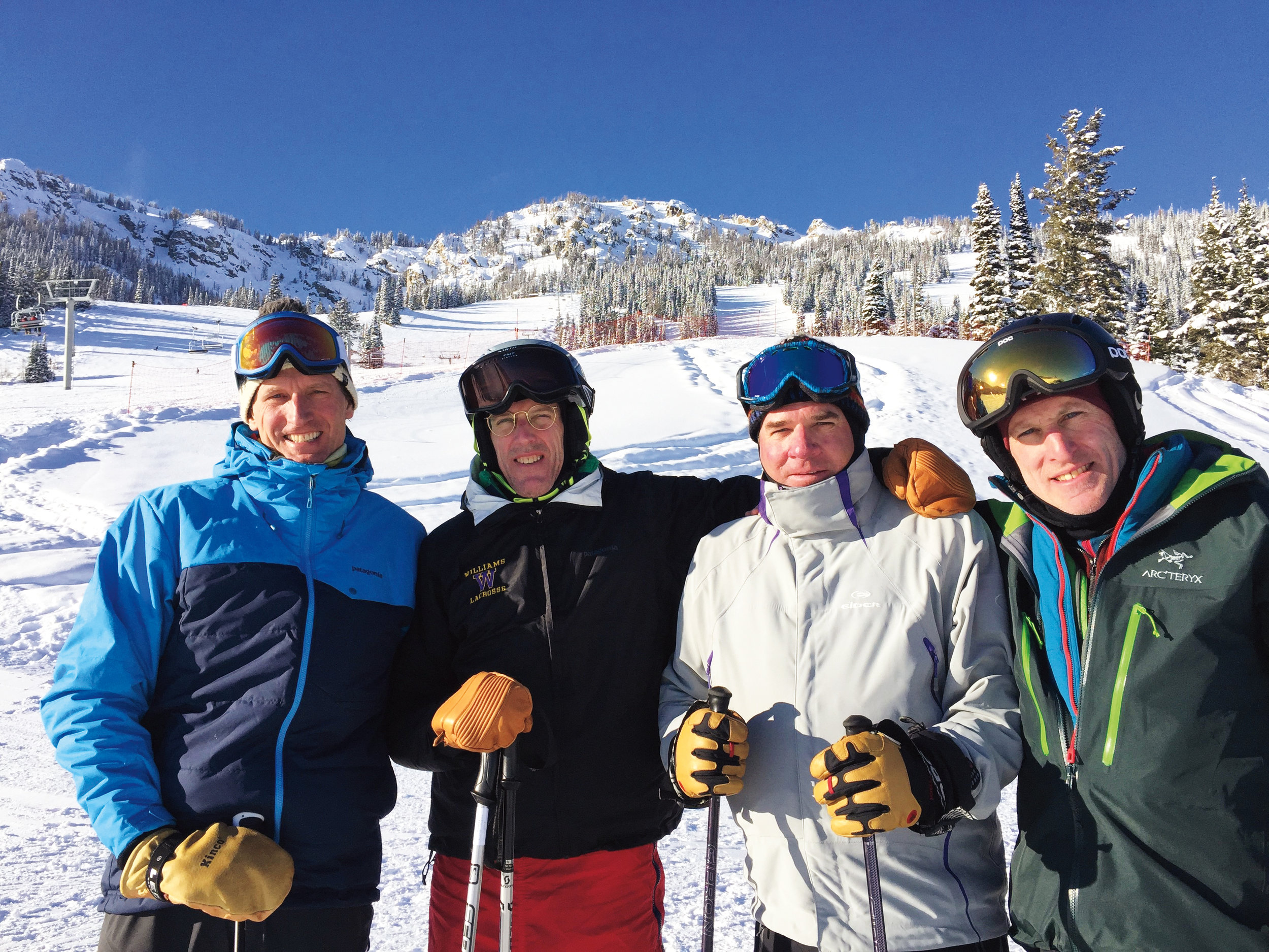 Ski buddies (l. to r.) Biddle Duke '81, Rob Fowler '81, Andrew Binger '81, and Gus Wilmerding '82 hit the slopes in Jackson Hole, Wyo.