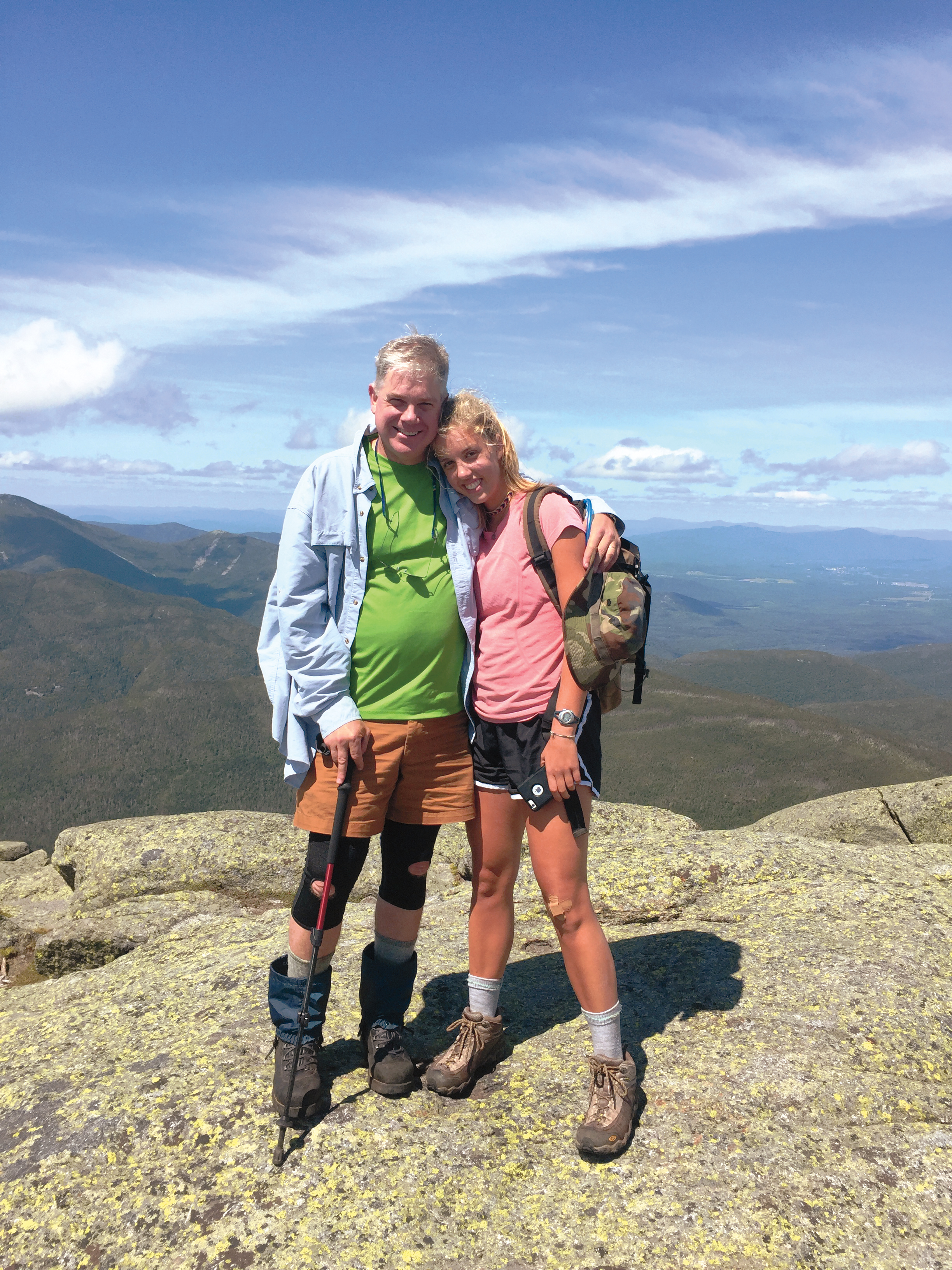 Peter Paine '81 and daughter Isabel, hiking Mt. Marcy in New York.