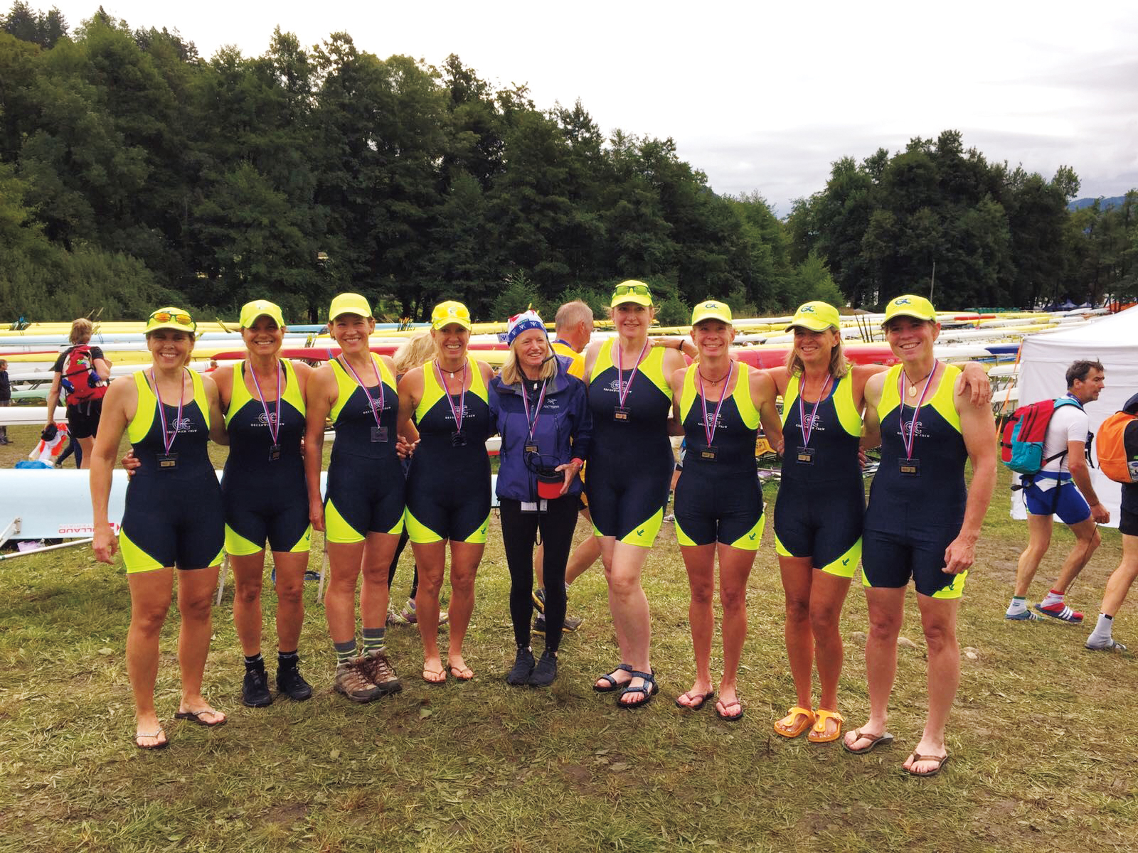 Stacey Jamar Caffery '81 with her teammates at the Masters World Rowing Championships in Bled, Slovenia.