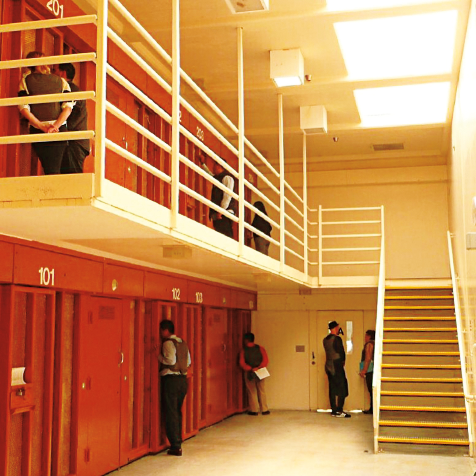 Michael Stubbs '83 exploring the secure housing unit at the Pelican Bay State Supermax Prison in California.
