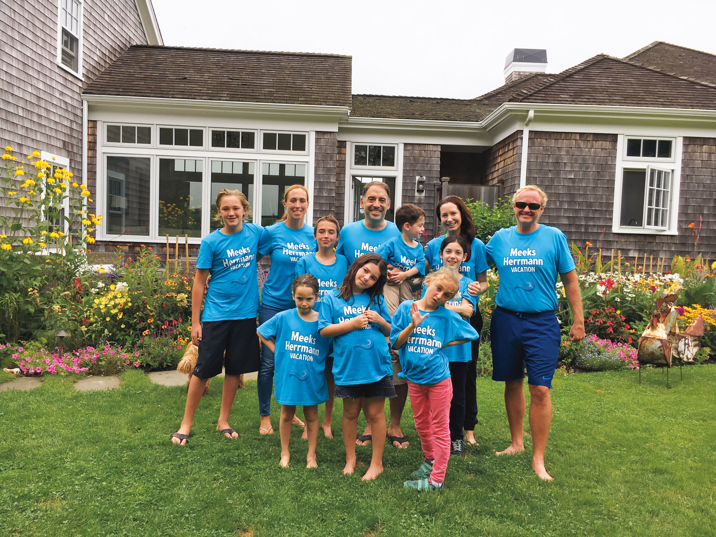 John Meeks '91, Adam Herrmann '91, and their families during a joint vacation on Martha's Vineyard.