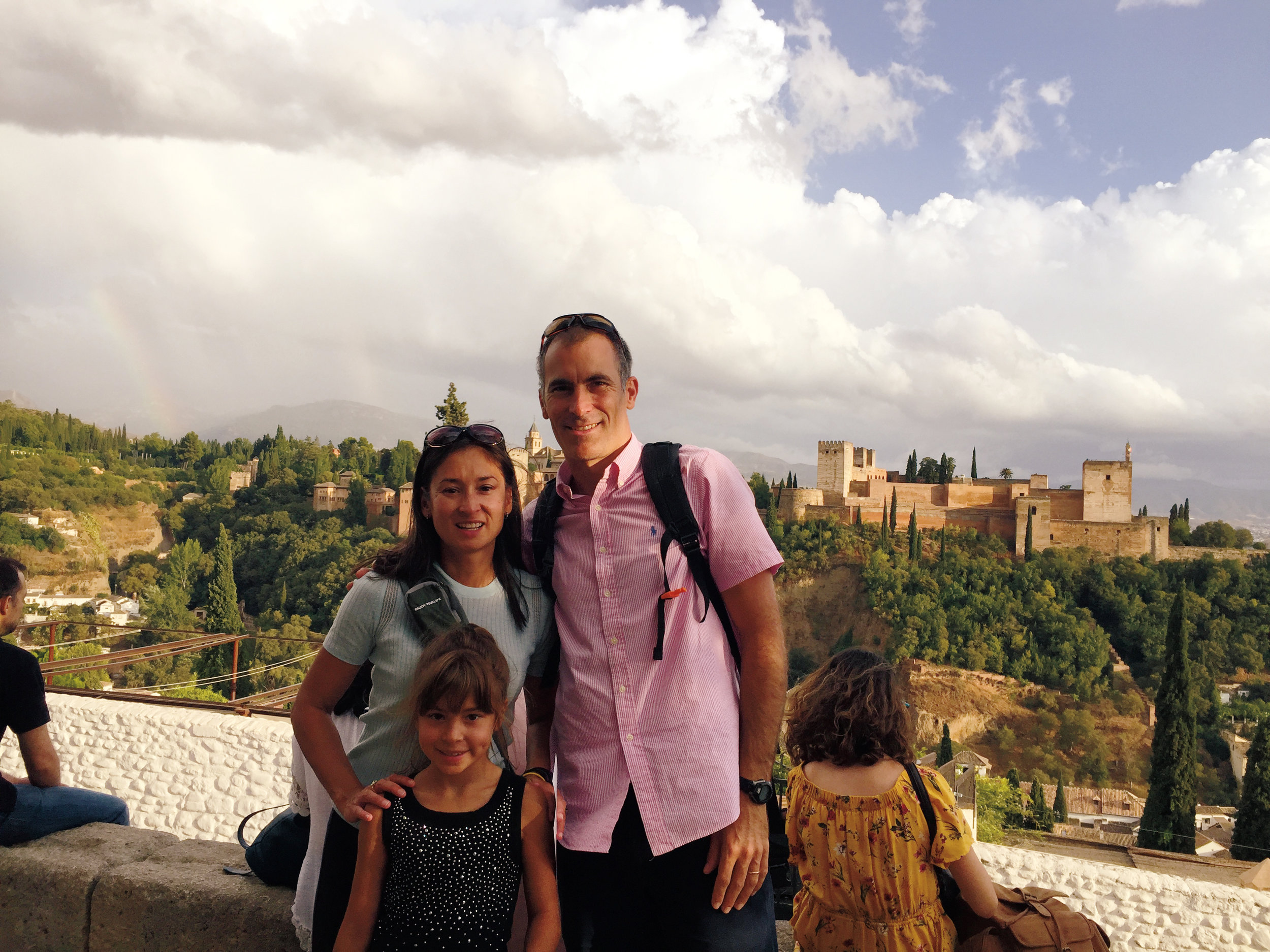 Trevor Patzer '92, his wife, Mari Madsen, and their daughter, Sofie, on a recent trip to Spain.