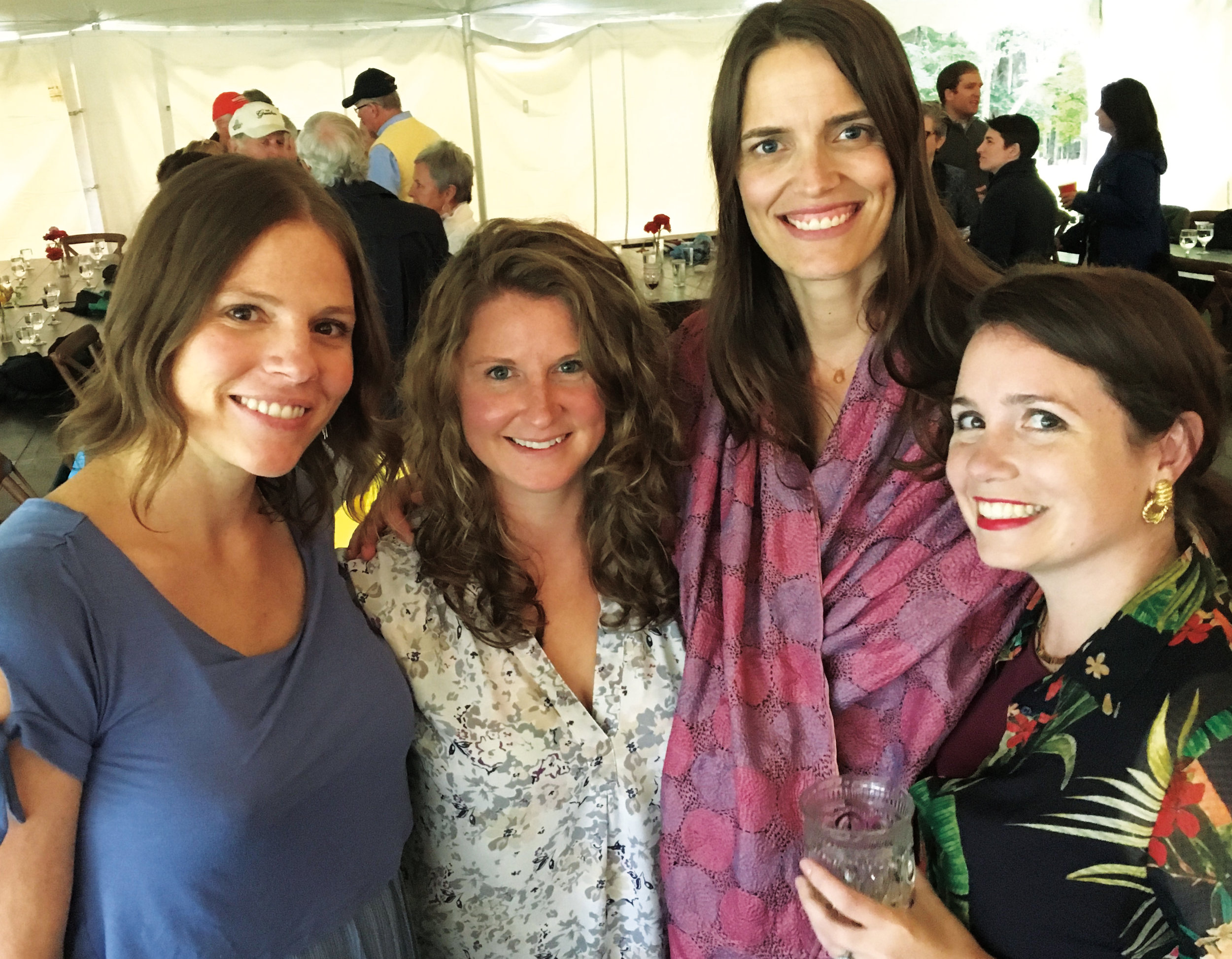 (L. to r.) Greta Braddock '99, Keely Schmidt '99, Lida Shepherd '99, and Cybil Gregory Roehrenbeck '99 were on hand to celebrate Lida's marriage