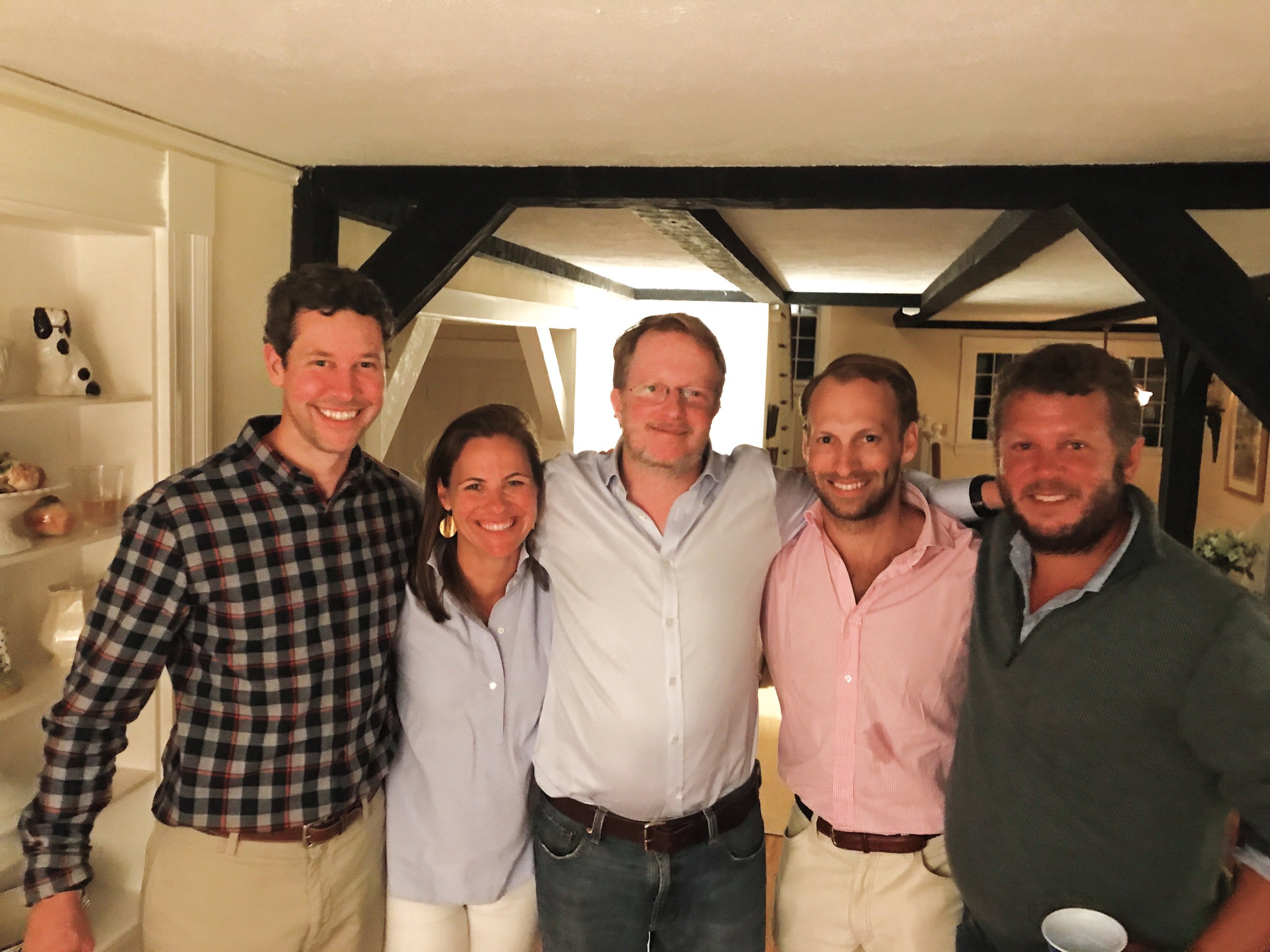 Paulies (l. to r.) Taylor Schreiber '98, Suzette Oates '00, Chris Allen '87, Nick Oates '03, and Josiah Hornblower '94 enjoyed their gathering in Dark Harbor, Maine.
