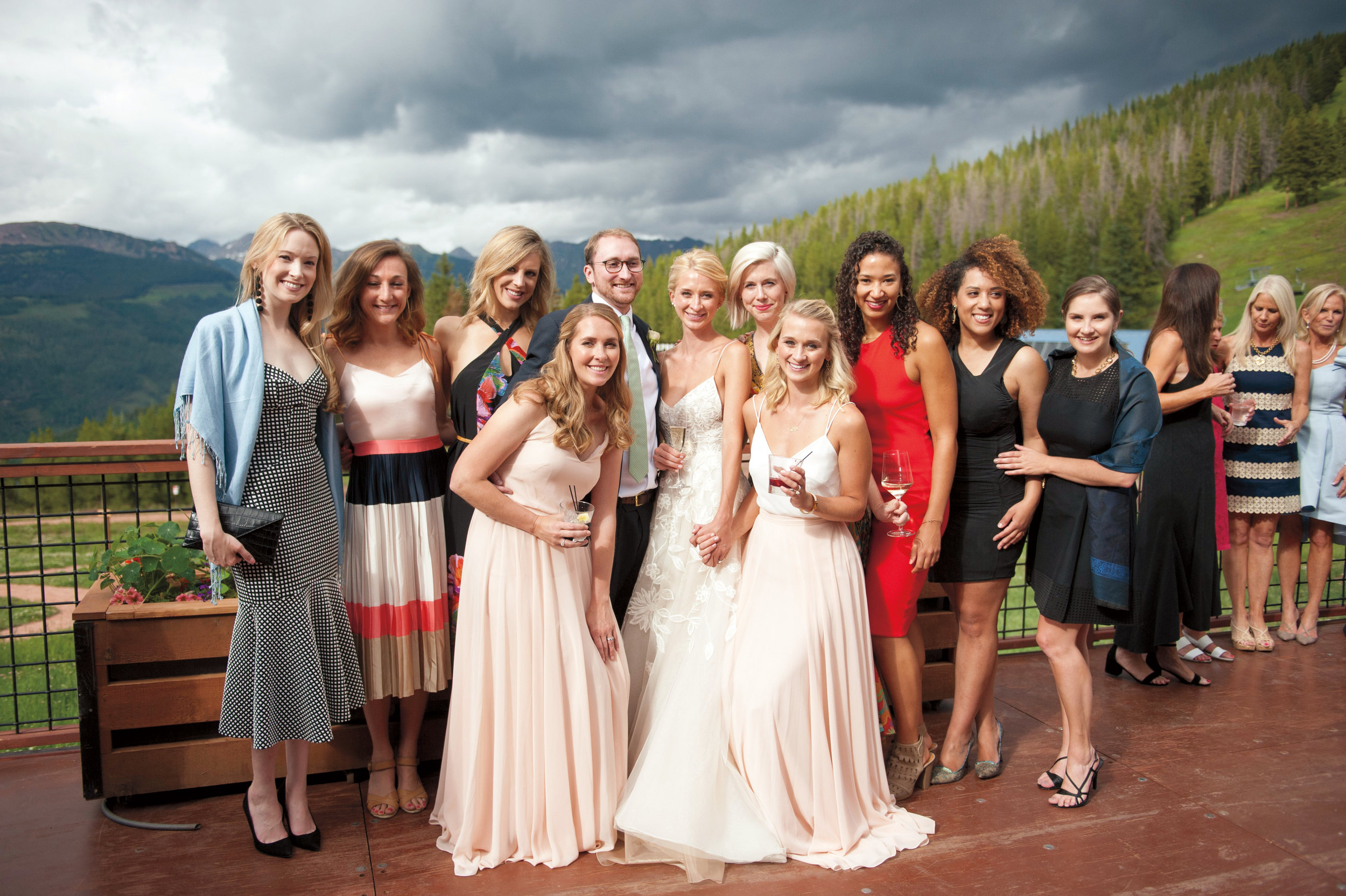 A number of SPS alumni enjoyed the wedding of Annie Wattles '06 and Will Geier: (l. to r.), back: Anna Barden '06, Caroline Walsh '06, Claire Beeukwes '06, Michael Wattles '04, Annie, Marian Bull '06, Jen Parker '05, Caroline Randall Williams '06, Caila Johnson '06; front: Vanessa Wattles '00, and Erin Wattles '09.
