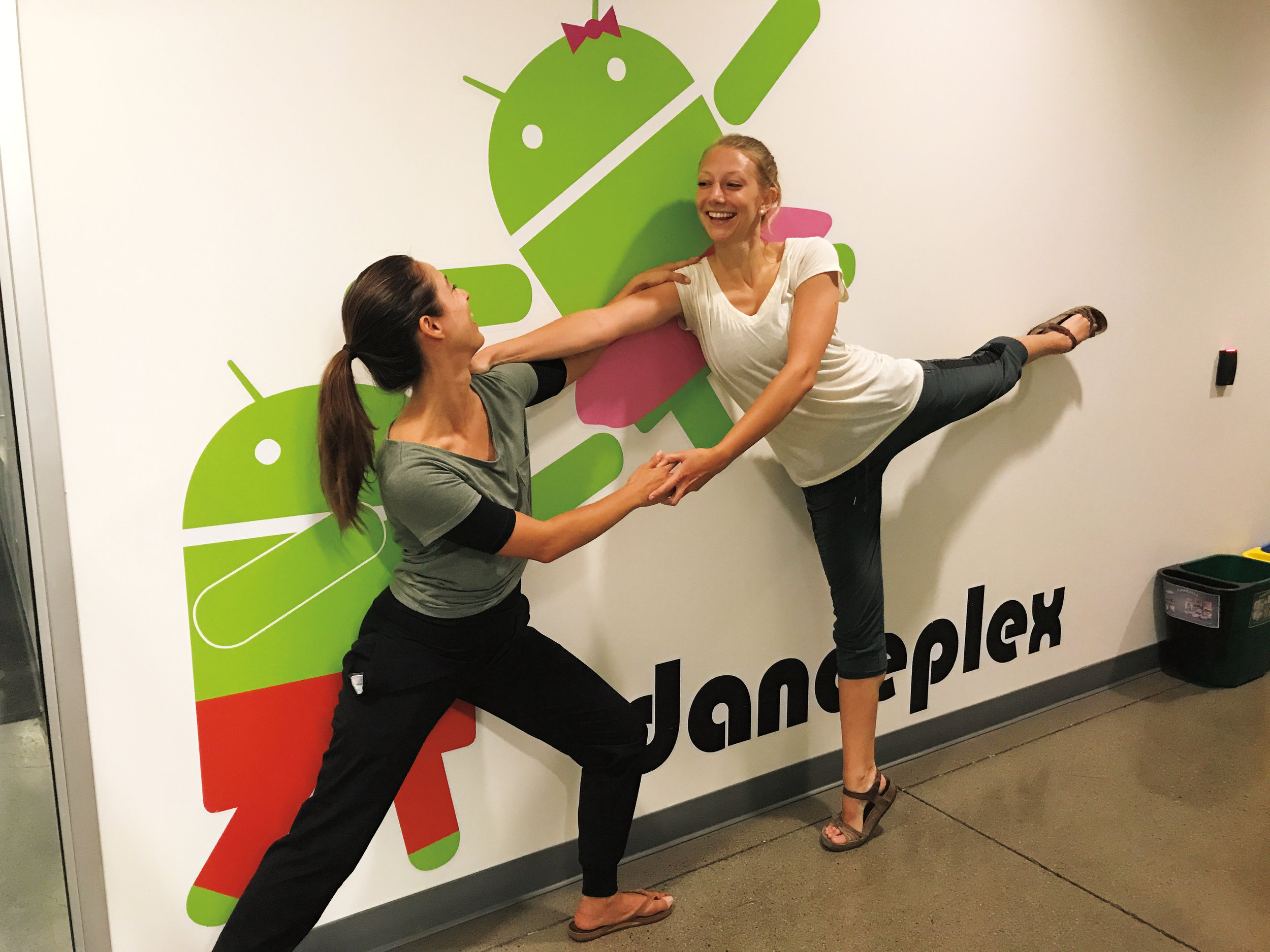 Formmates Ria Bailey-Galvis '06 (l.) and Katy Duncan '06 dancing on the Google campus.