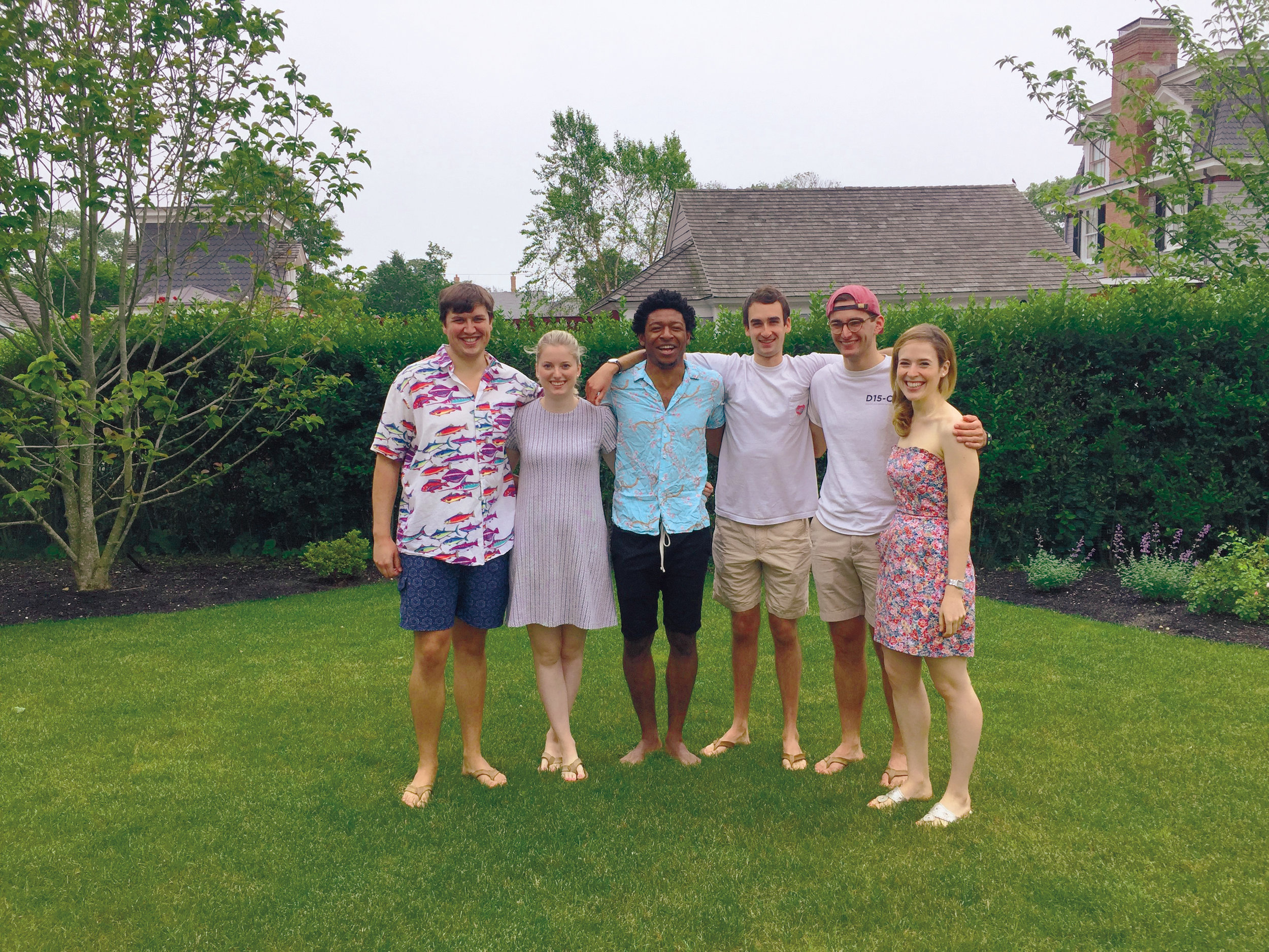 2011 formmates (l. to r.) Fuller Henriques, Katharine Harper, Alvan Mbongo, Cam Parker, Harvey Hinman, Olivia Dickey, and Peter Wu (not pictured) congregated in Quogue, N.Y.