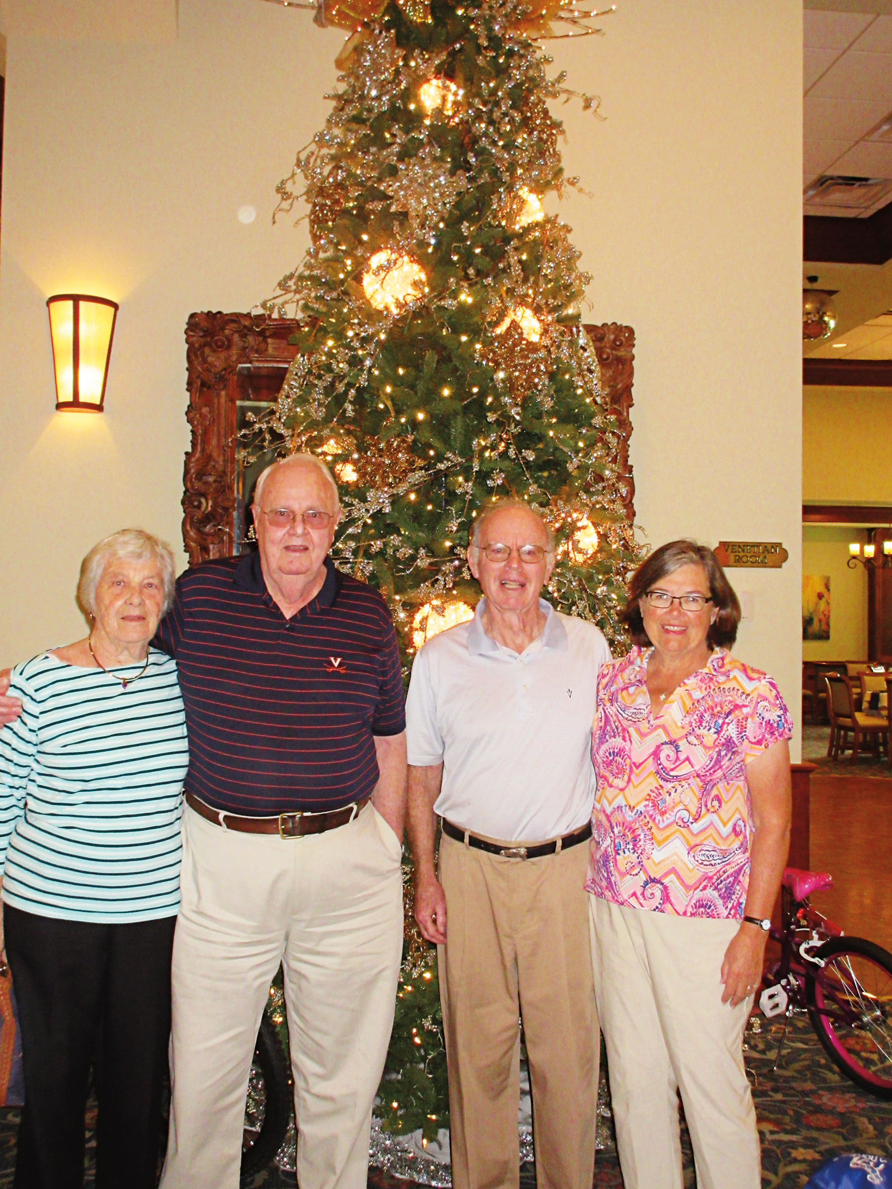 (L. to r.) Lou Sawyer, Dick Sawyer '48, Bill Matthews '61, and Marcia Matthews met for lunch in Venice, Fla.