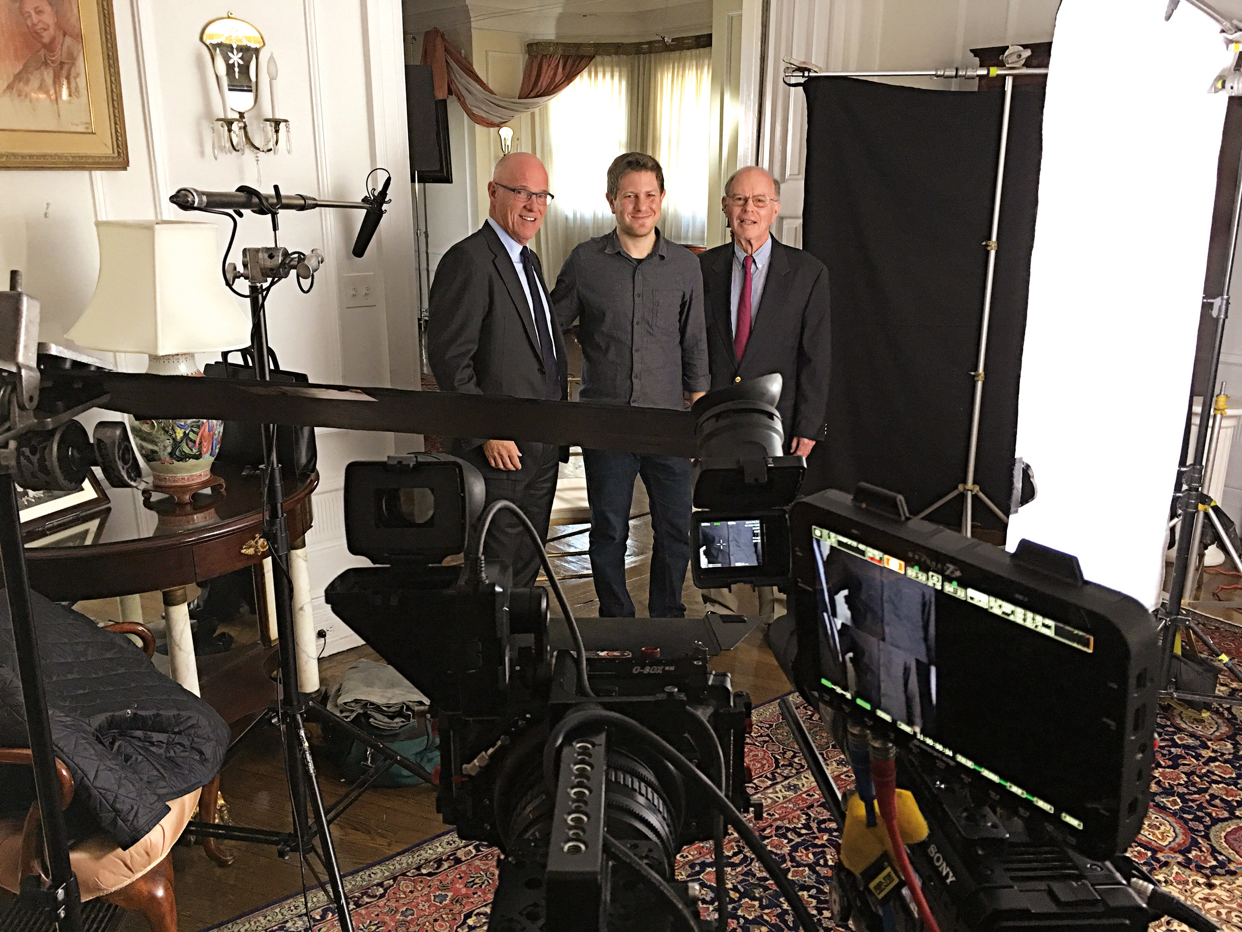 Haven Pell '64 (l.) and Bill Matthews '61 (r.) were interviewed by Mike Schultz, a producer with NBC Universal, for a documentary on Special Counsel Robert Mueller '62.