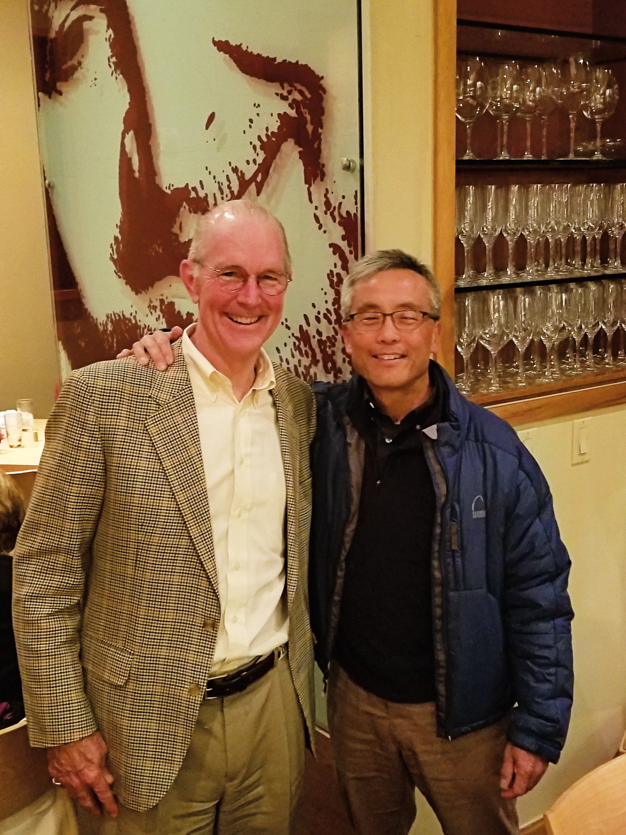 Ned Welbourn '74 (l.) and Bruce Chan '74 dined together in Washington, D.C.
