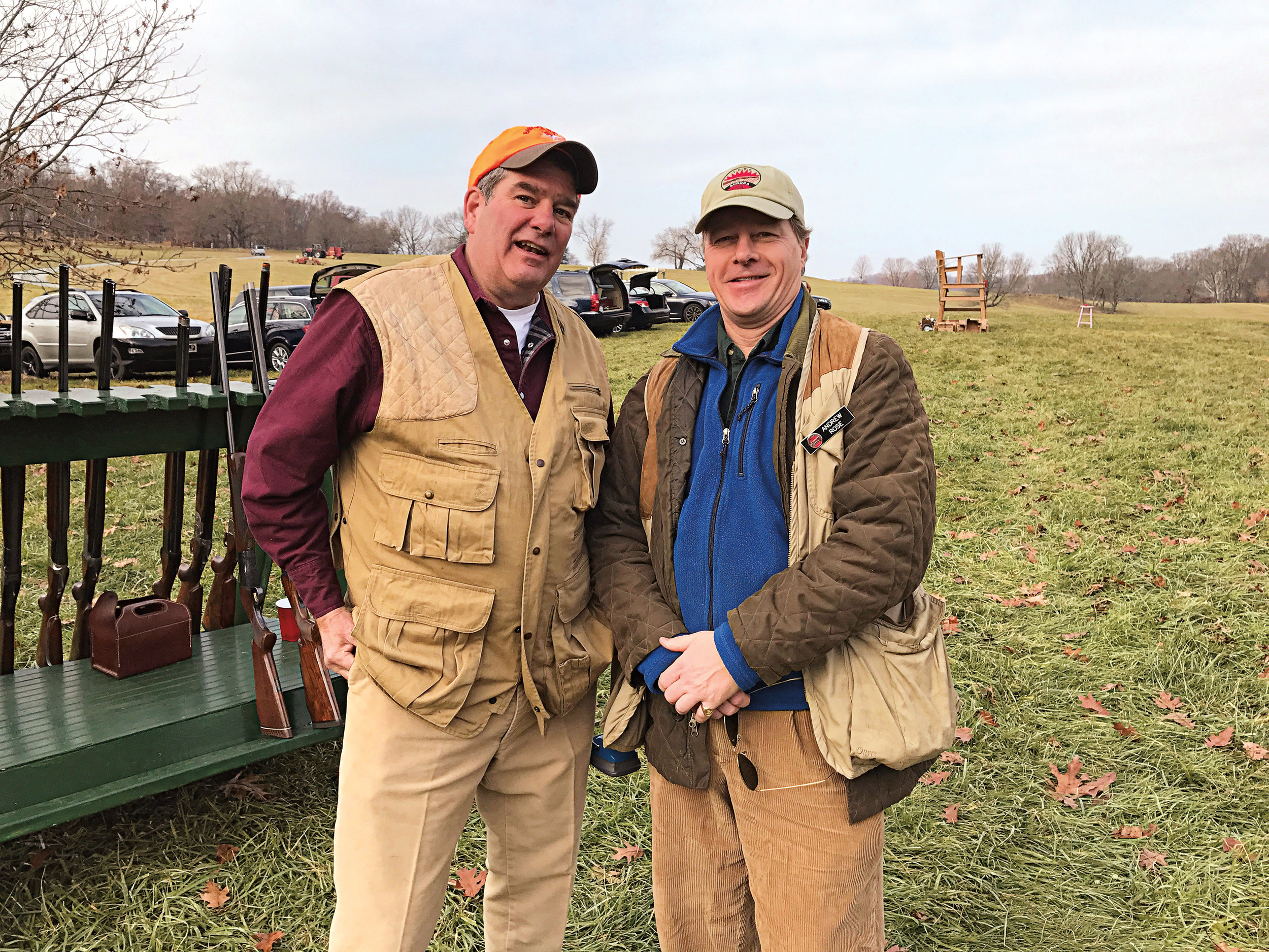 Warren Ingersoll '77 (l.) and Andrew Rose '78 were surprised to both be competing at the Dorrance-du Pont Cup shoot at the Aurora Gun Club in Delaware.
