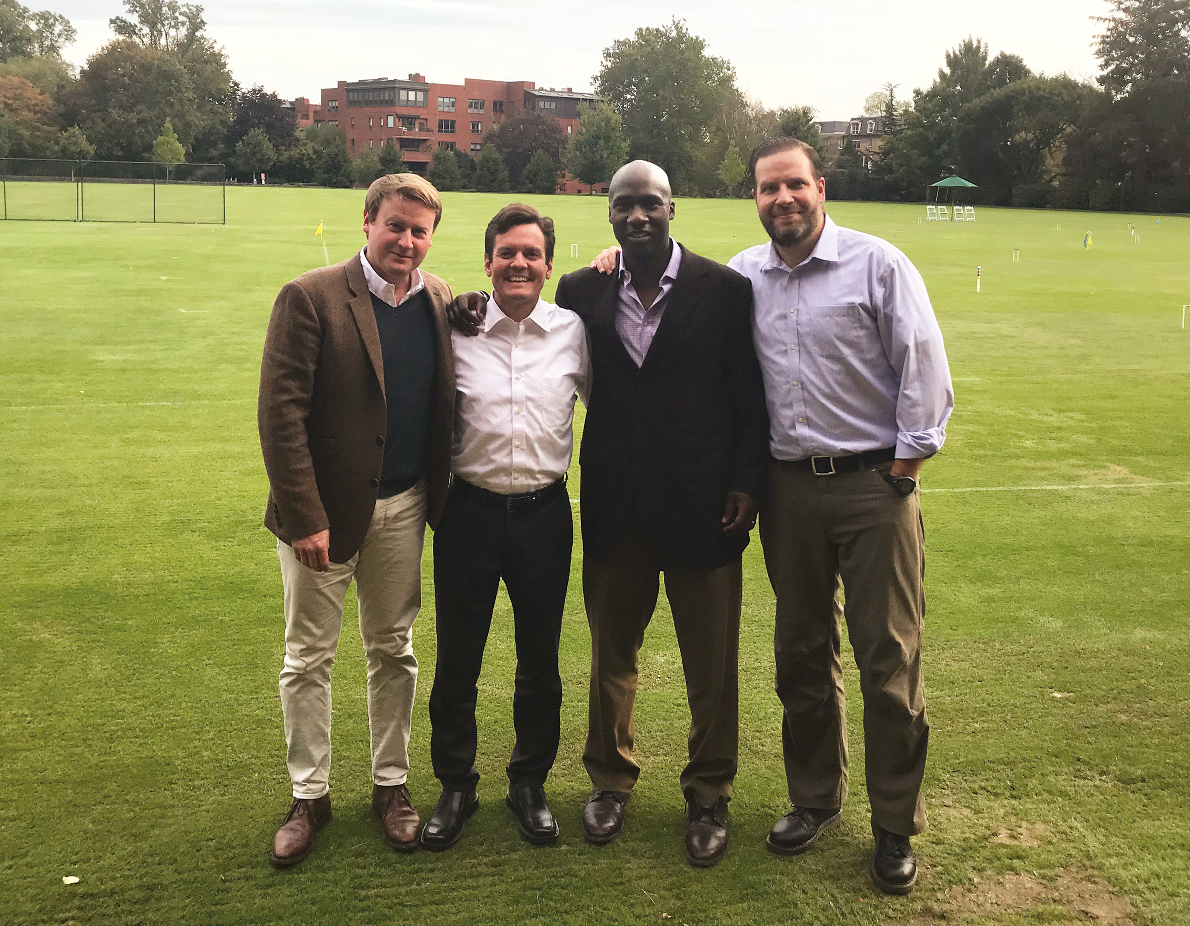 (L. to r.) Hugh Anderson '89, John Zurn '91, Amachie Ackah '90, and Toby True '91 at the Merion Cricket Club in Philadelphia, continuing an annual tradition of celebrating Cricket Holiday together.