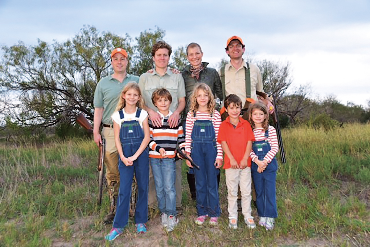 (L. to r.) 1996ers Lloyd Walmsley, Max Lamont, and Alex Leigh (and husband Nathan Brown), with Alex's daughters and two of Max's sons, enjoyed wild quail hunting and tamale feasting in Texas.