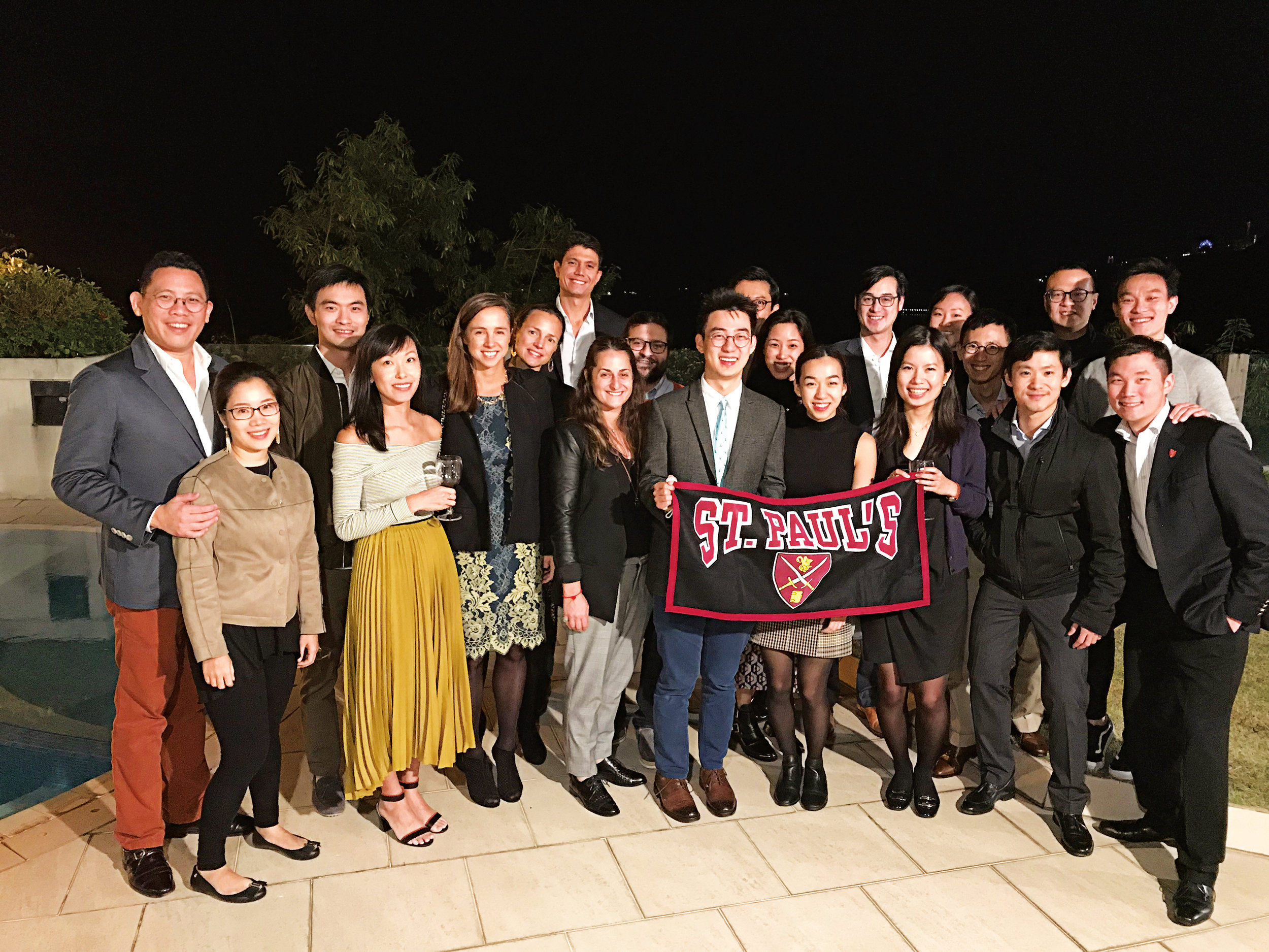 The Hong Kong Pelicans hosted their annual Thanksgiving dinner. Attendees included (l. to r.): Fergus Fung and wife Terri-Ann Fung '97, Jeffrey Ma '03 and wife Melissa Tse, Olivia Carega '02, Francesca Carega '92, Tom Allen '01, Alex Kumin Solomon '98 and husband Justin Solomon, Michael Wong '08, Valerie Ho '04, Christina Wong '12, Drew Camarda '04, Natalie Tse '09, Jason Lam '01, Edmond Cheuk '05, Julian Cheng '92, Jonathan Tam '04, and Calvin Ma '04.