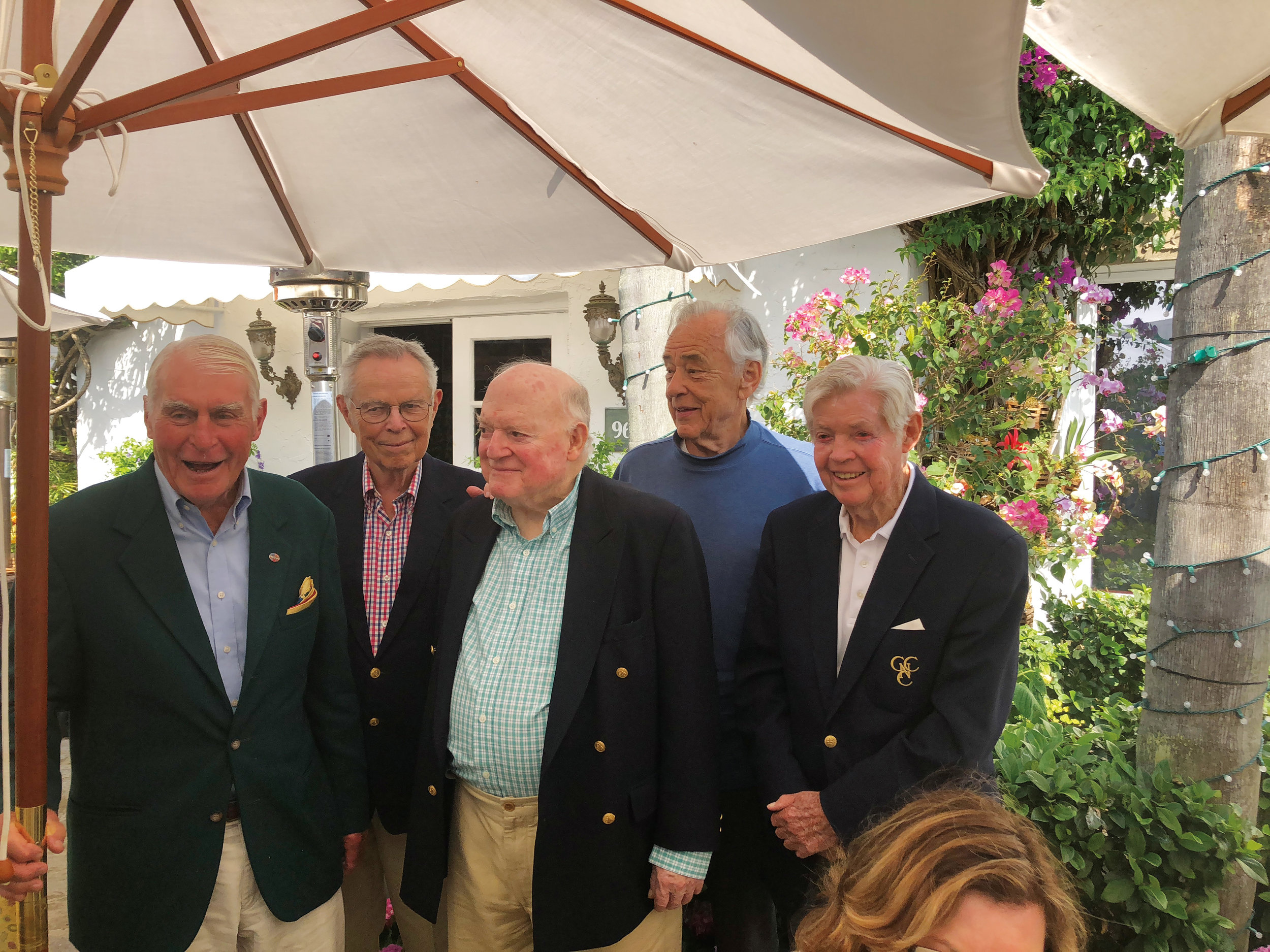 Formmates from 1948 (l. to r.) Bill Timpson, Burt Closson, Sandy McLanahan, Pete Coley, and Fuzzy Neville and a handful of their wives gathered for lunch in Palm Beach, Fla., in early March.