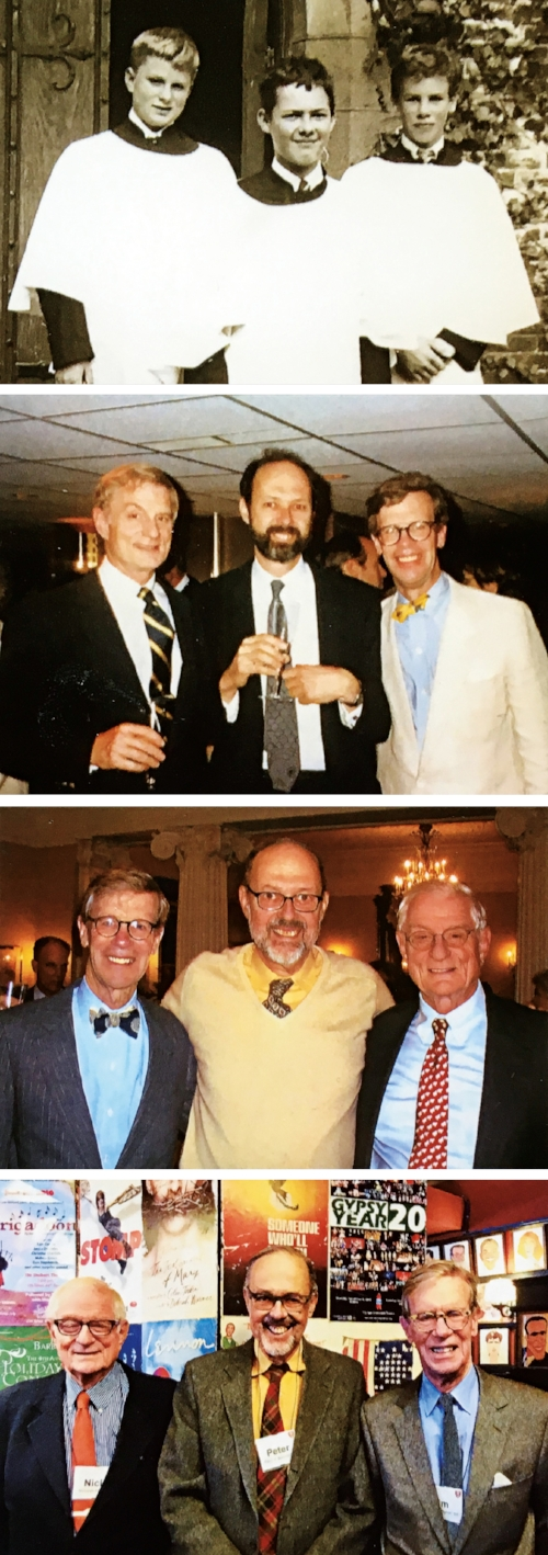 A series of photos with (l. to r.) Nick Platt '53, Peter Swords '53, and Jim Righter '54 (except the third photo, where Platt and Righter have changed places). From top to bottom: SPS Parents Weekend (1949), Righter's 25th wedding anniversary (1987), a gathering in New York (2008), and a recent event at Sardi's in New York (2017). Photos submitted by Ed Harding '54.